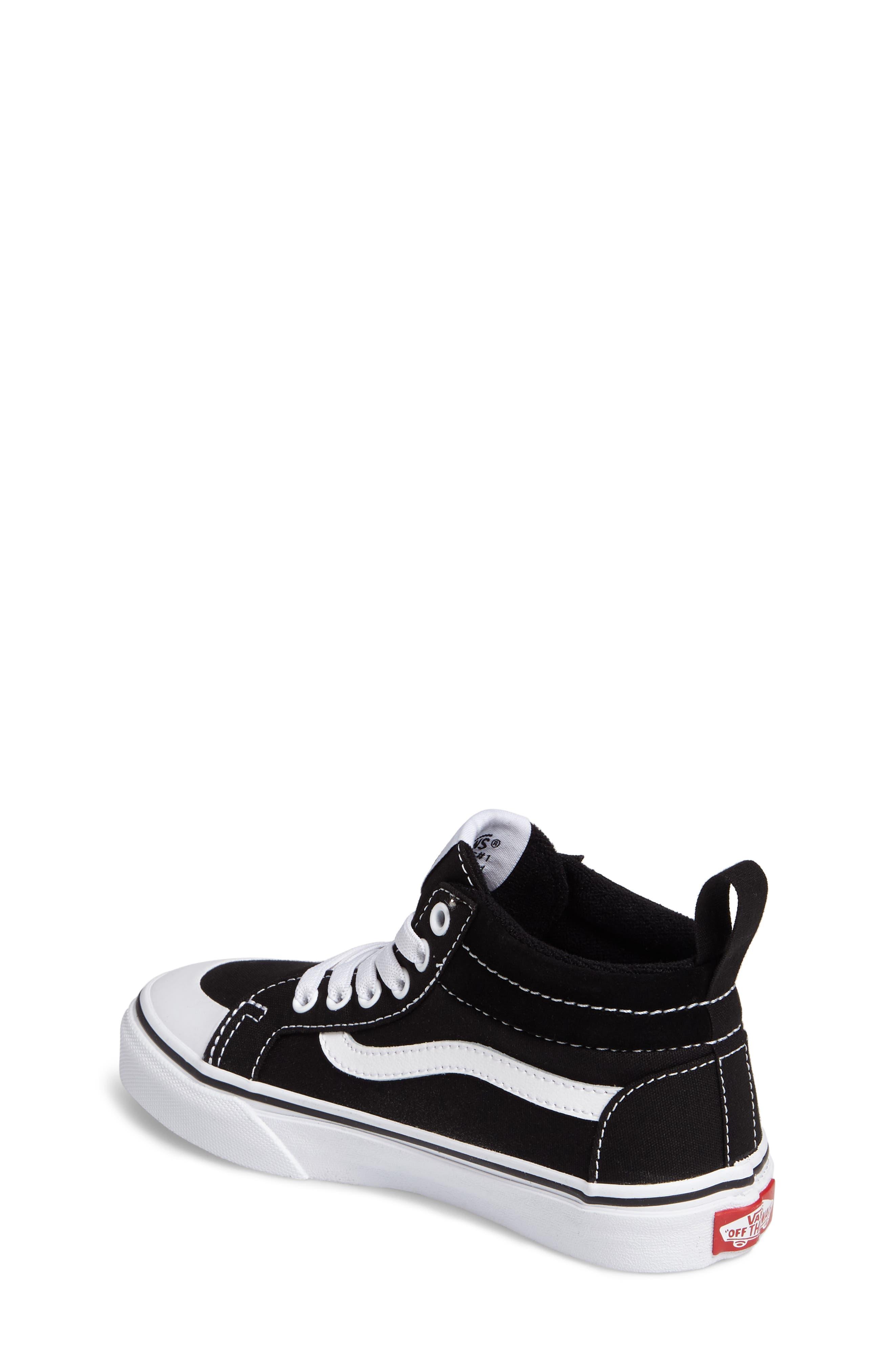 Racer Mid Elastic Lace Sneaker,                             Alternate thumbnail 2, color,                             BLACK/ TRUE WHITE CANVAS