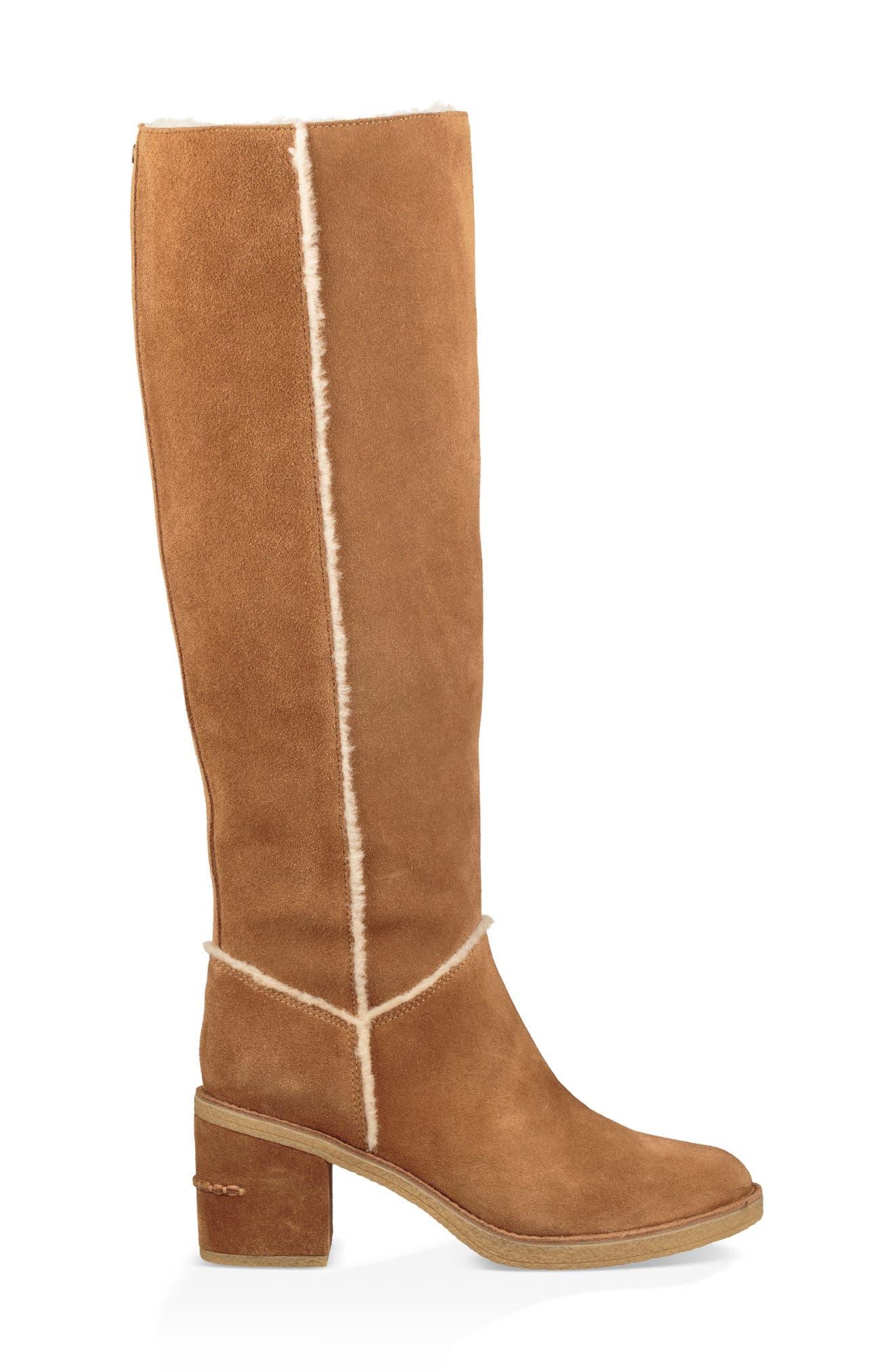 Kasen II Knee High Boot,                             Alternate thumbnail 3, color,                             CHESTNUT SUEDE