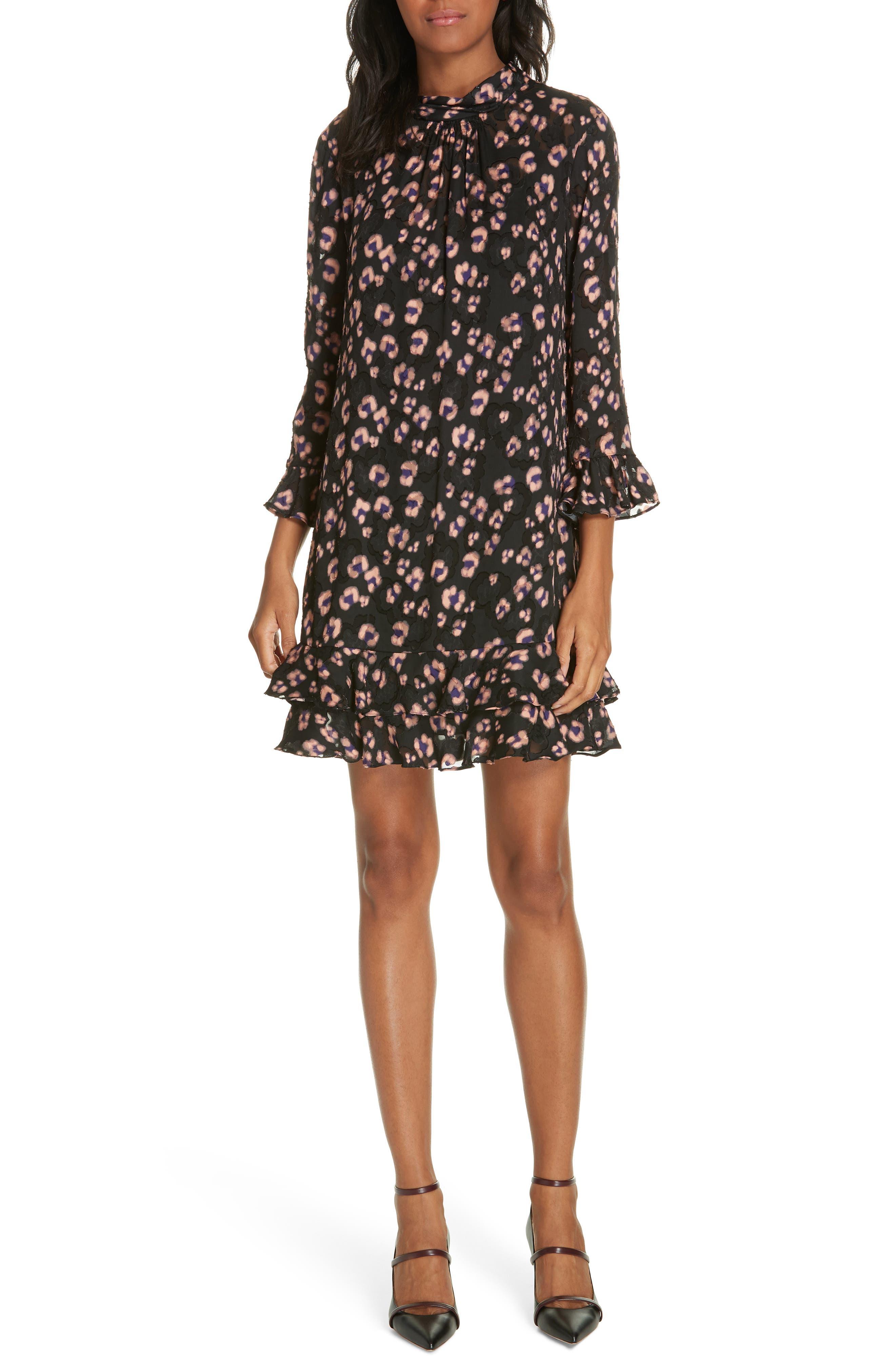 Cheetah Print Silk Dress,                             Main thumbnail 1, color,                             COPPER COMBO