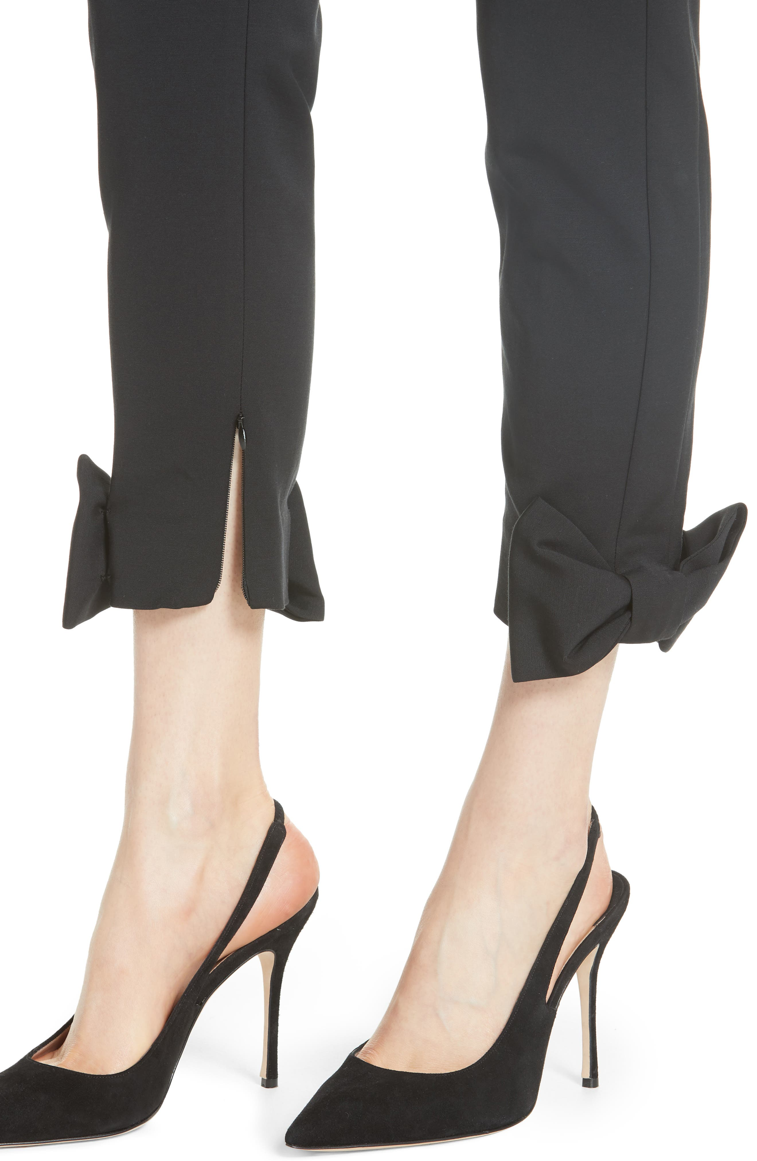 Toplyt Bow Cuff Ankle Pants,                             Alternate thumbnail 4, color,                             001