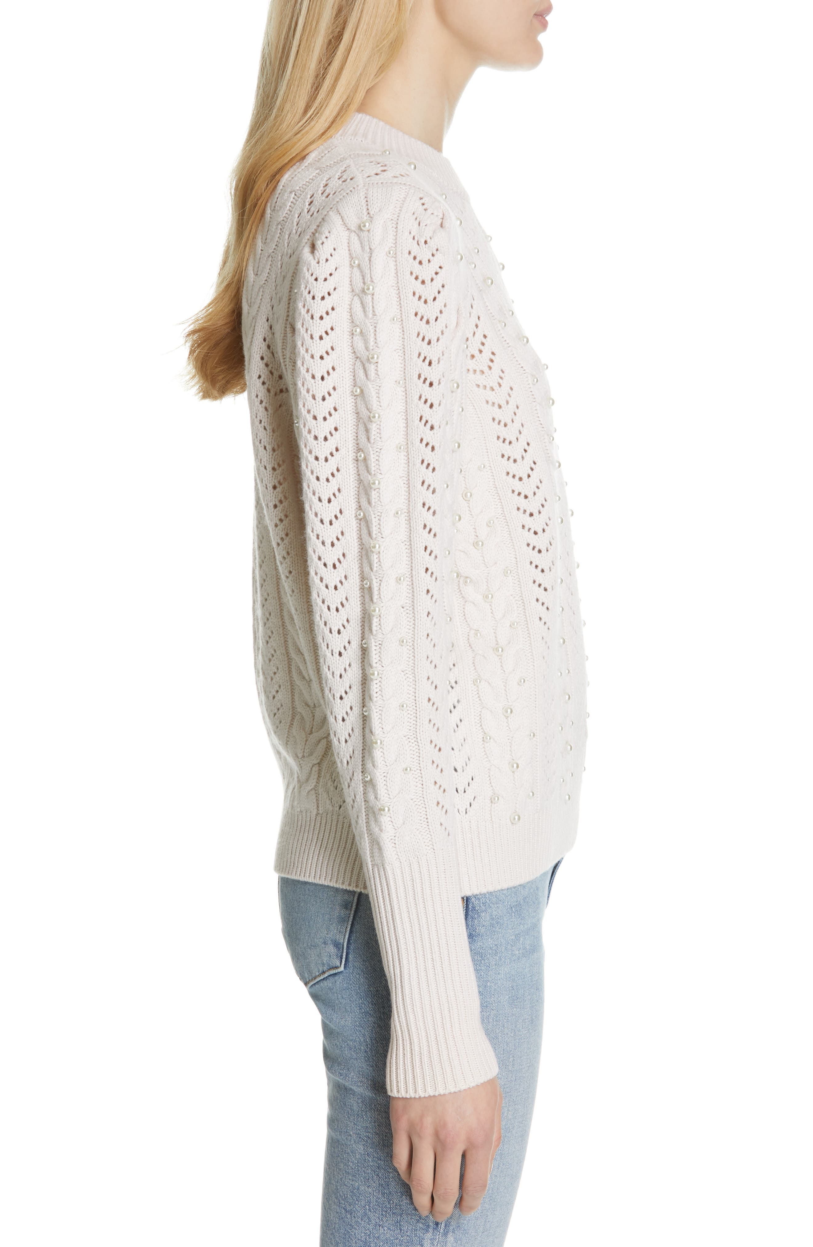 Tinala Faux Pearl Detail Cable Sweater,                             Alternate thumbnail 3, color,                             ANTIQUE WHITE