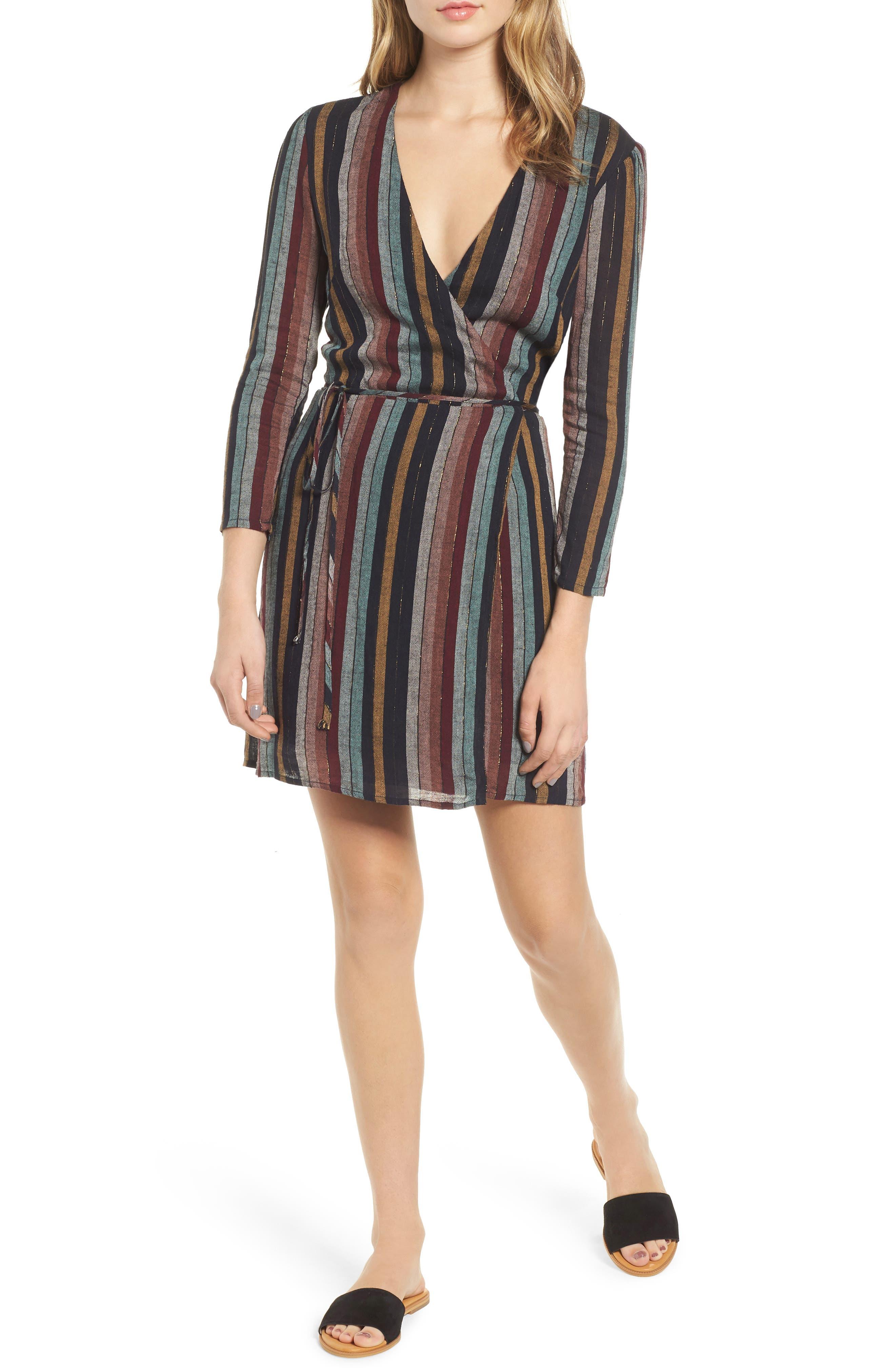 Lola Metallic Wrap Dress,                             Main thumbnail 1, color,                             VARADERO STRIPE