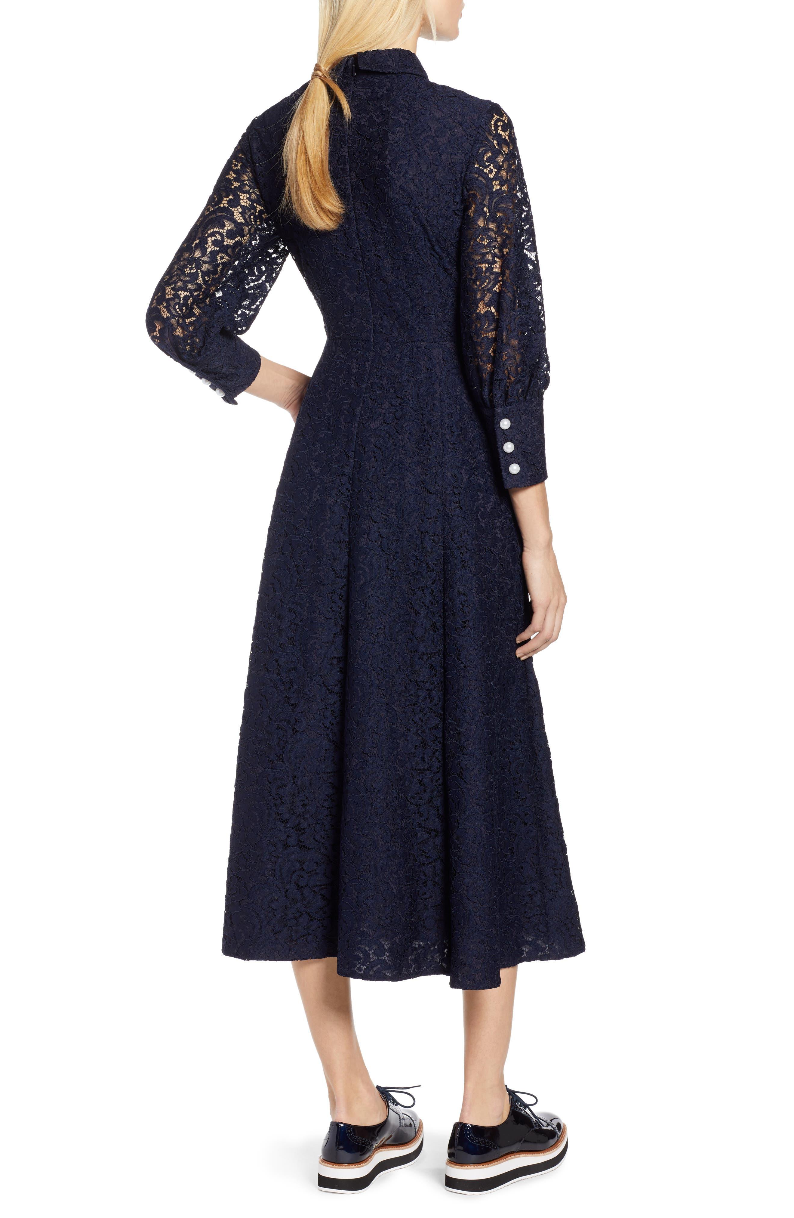 x Atlantic-Pacific Bow Detail Lace Midi Dress,                             Alternate thumbnail 3, color,                             NAVY
