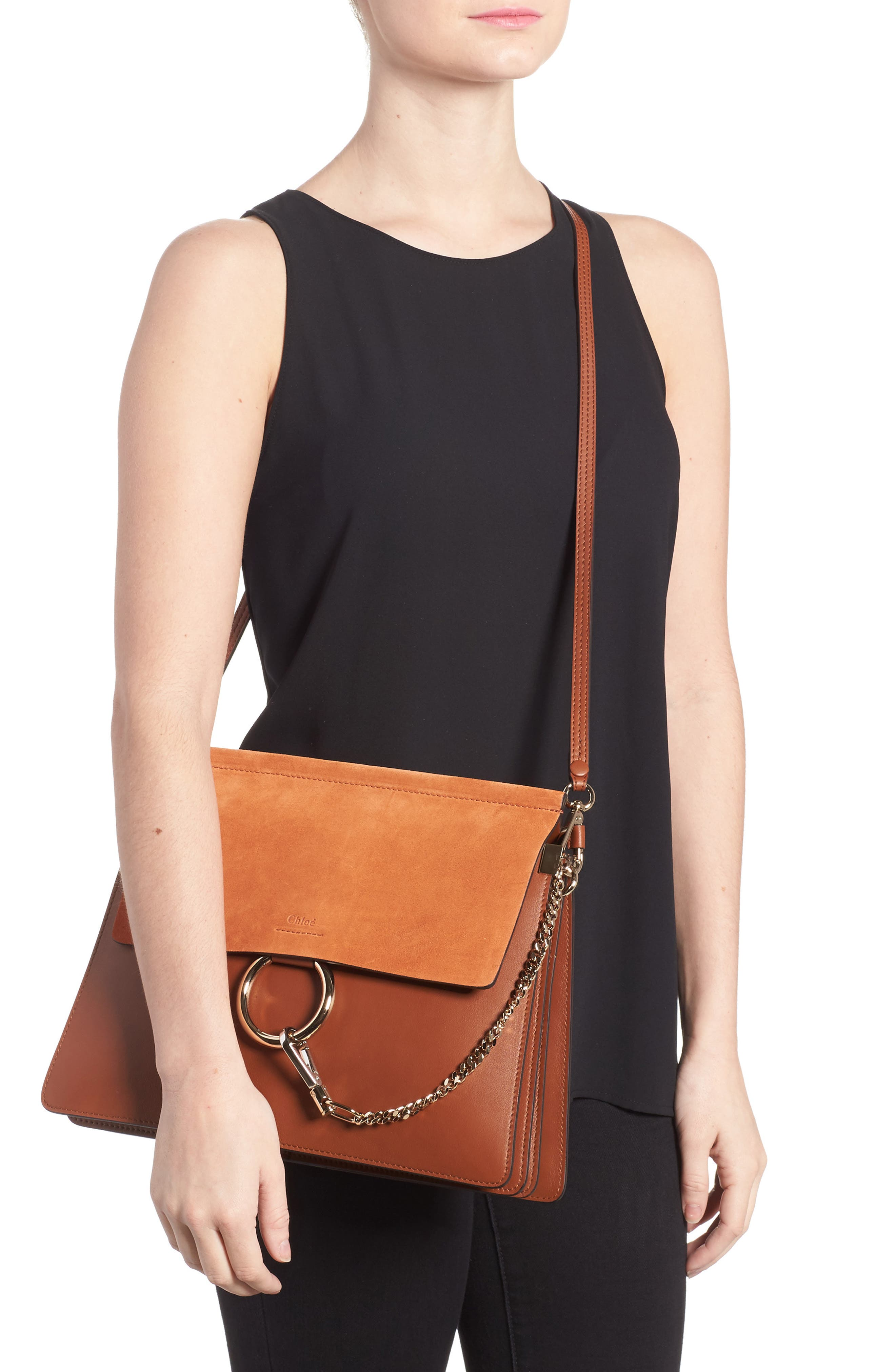 Faye Suede & Leather Shoulder Bag,                             Alternate thumbnail 2, color,                             CLASSIC TOBACCO