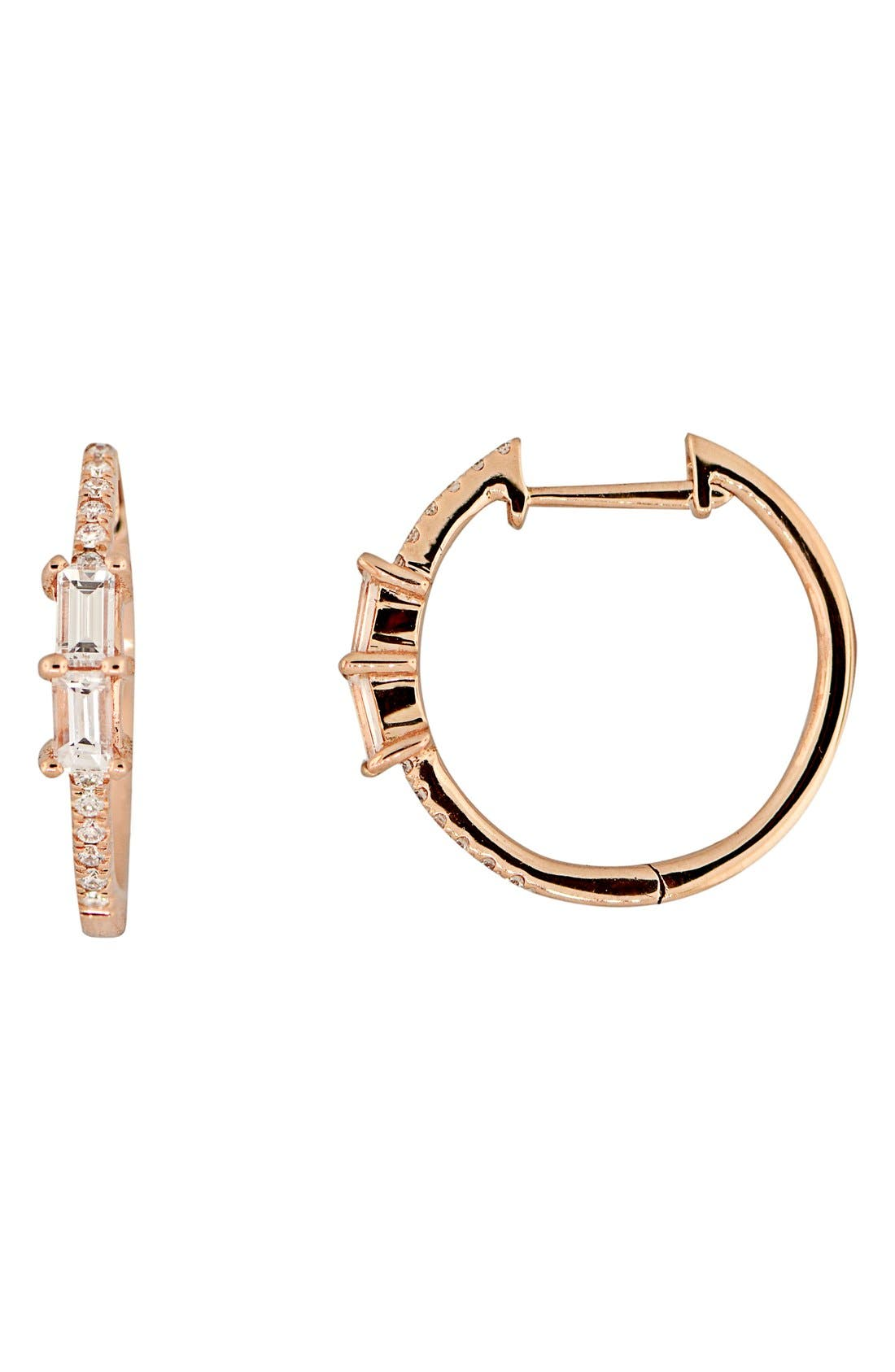 Diamond Hoop Earrings, Main, color, ROSE GOLD