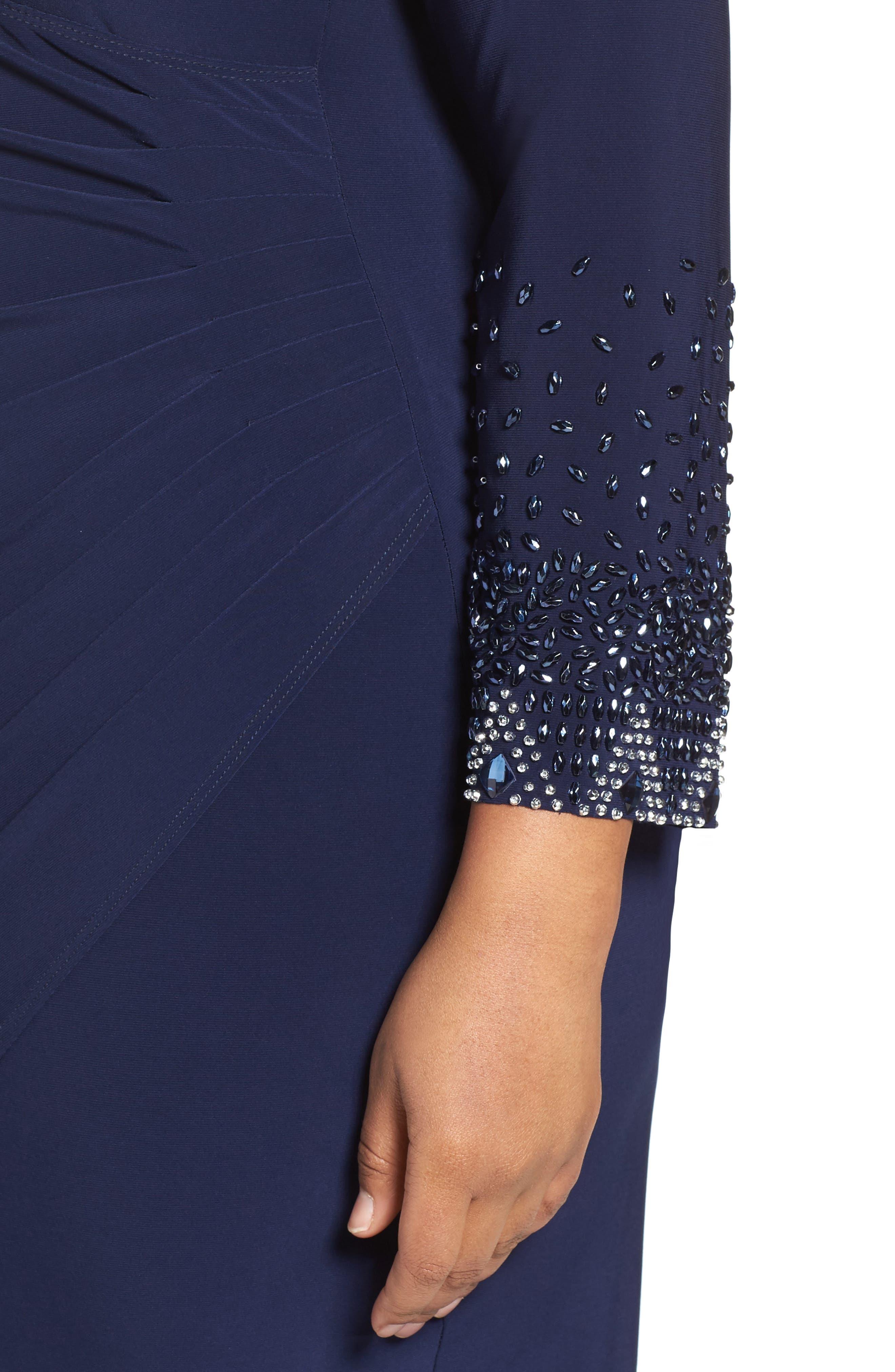 Embellished Faux Wrap Dress,                             Alternate thumbnail 5, color,                             410
