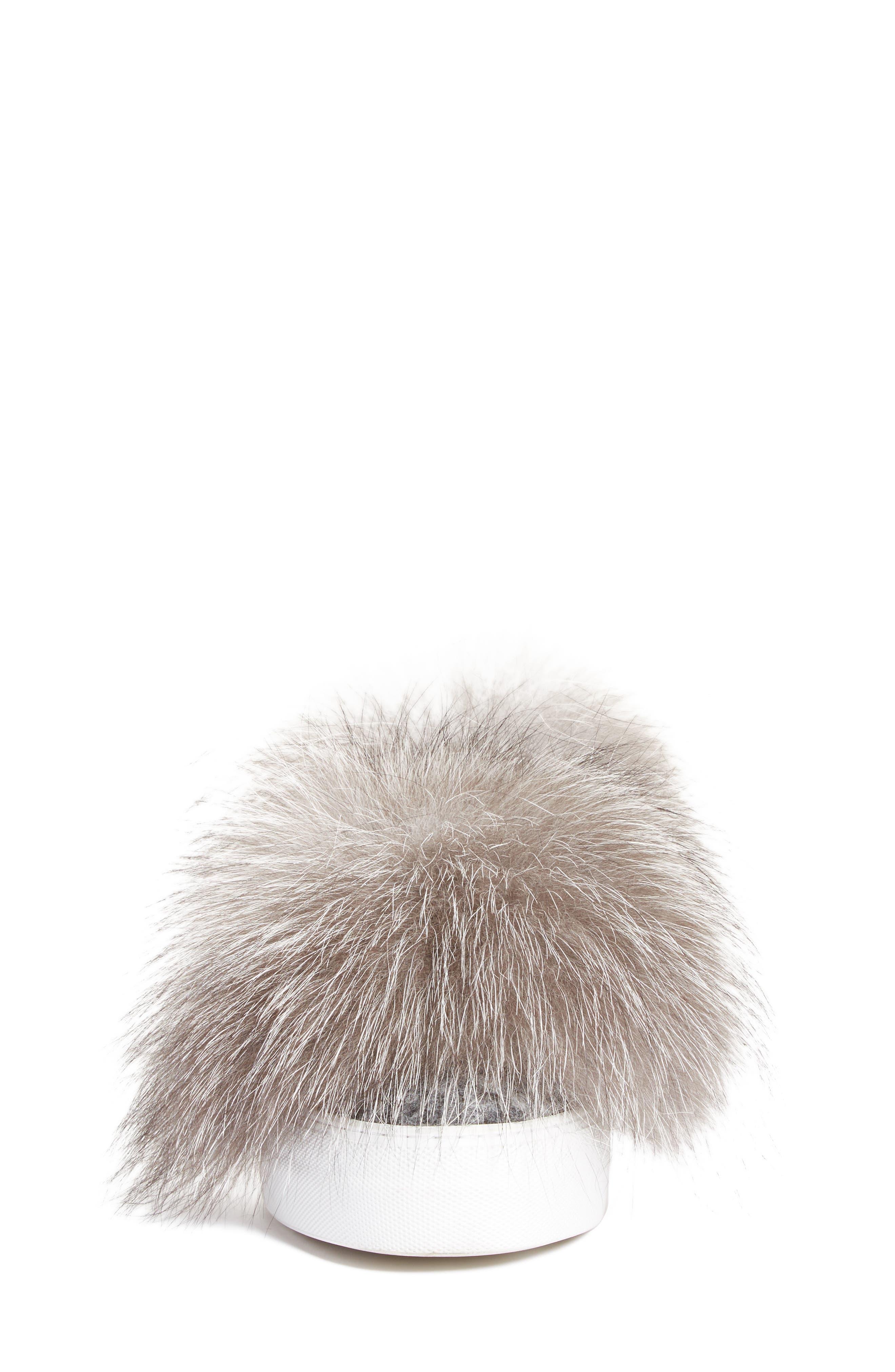 Victoire Genuine Fox Fur Slip-On Sneaker,                             Alternate thumbnail 4, color,                             020