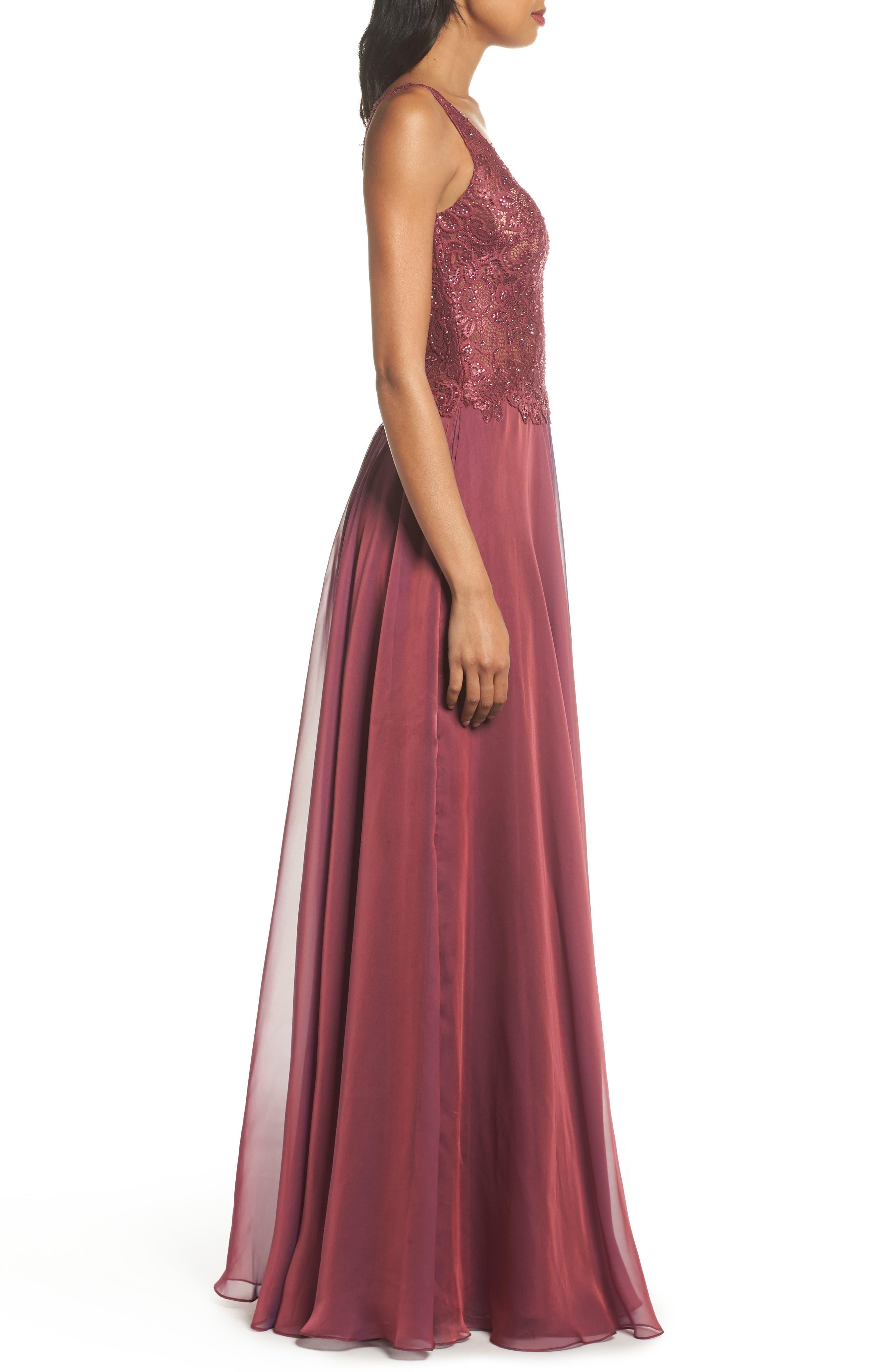 Lace & Chiffon A-Line Gown,                             Alternate thumbnail 3, color,