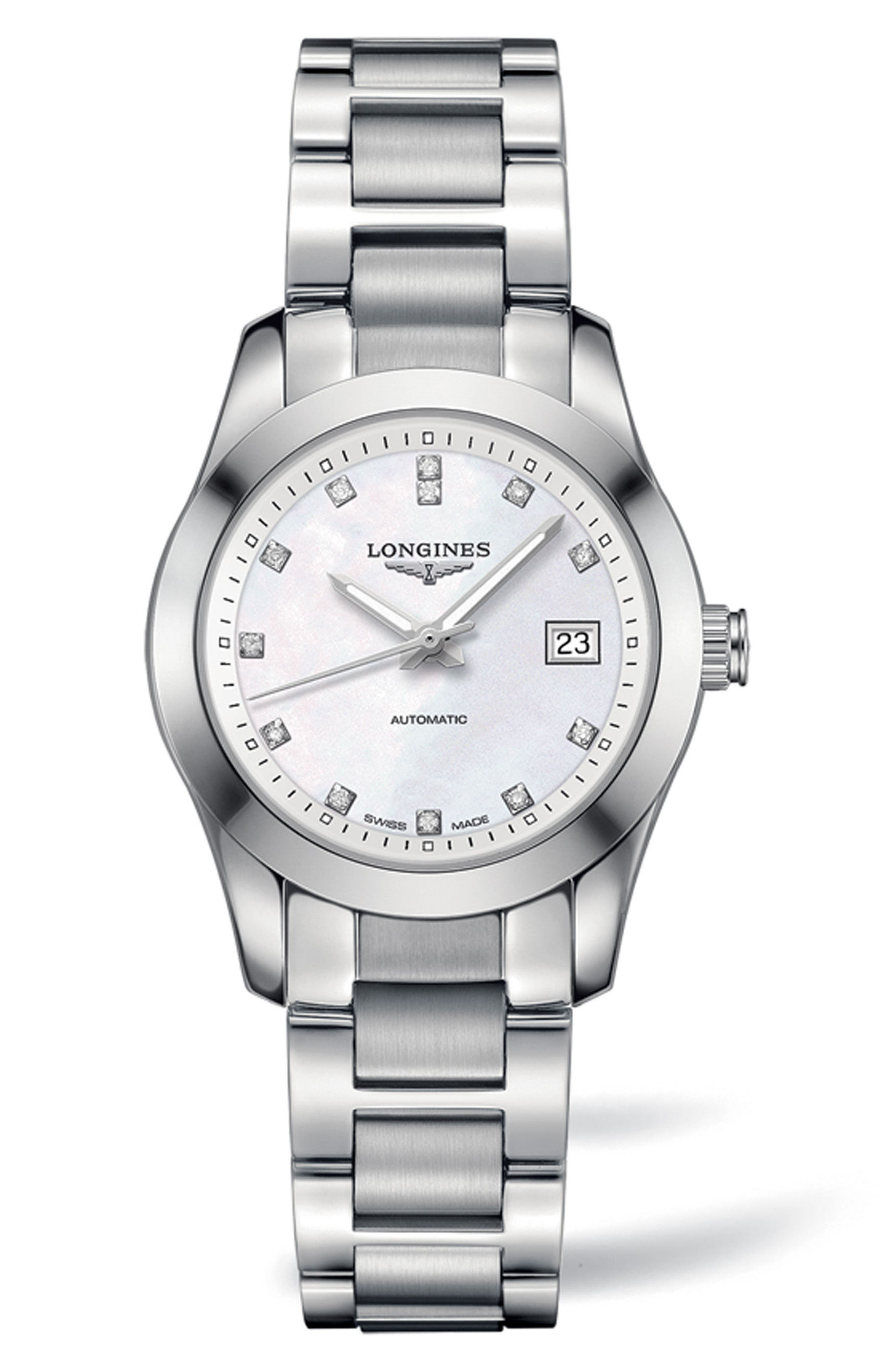 Conquest Classic Automatic Bracelet Watch, 29.5mm,                             Main thumbnail 1, color,                             SILVER/ MOP/ SILVER