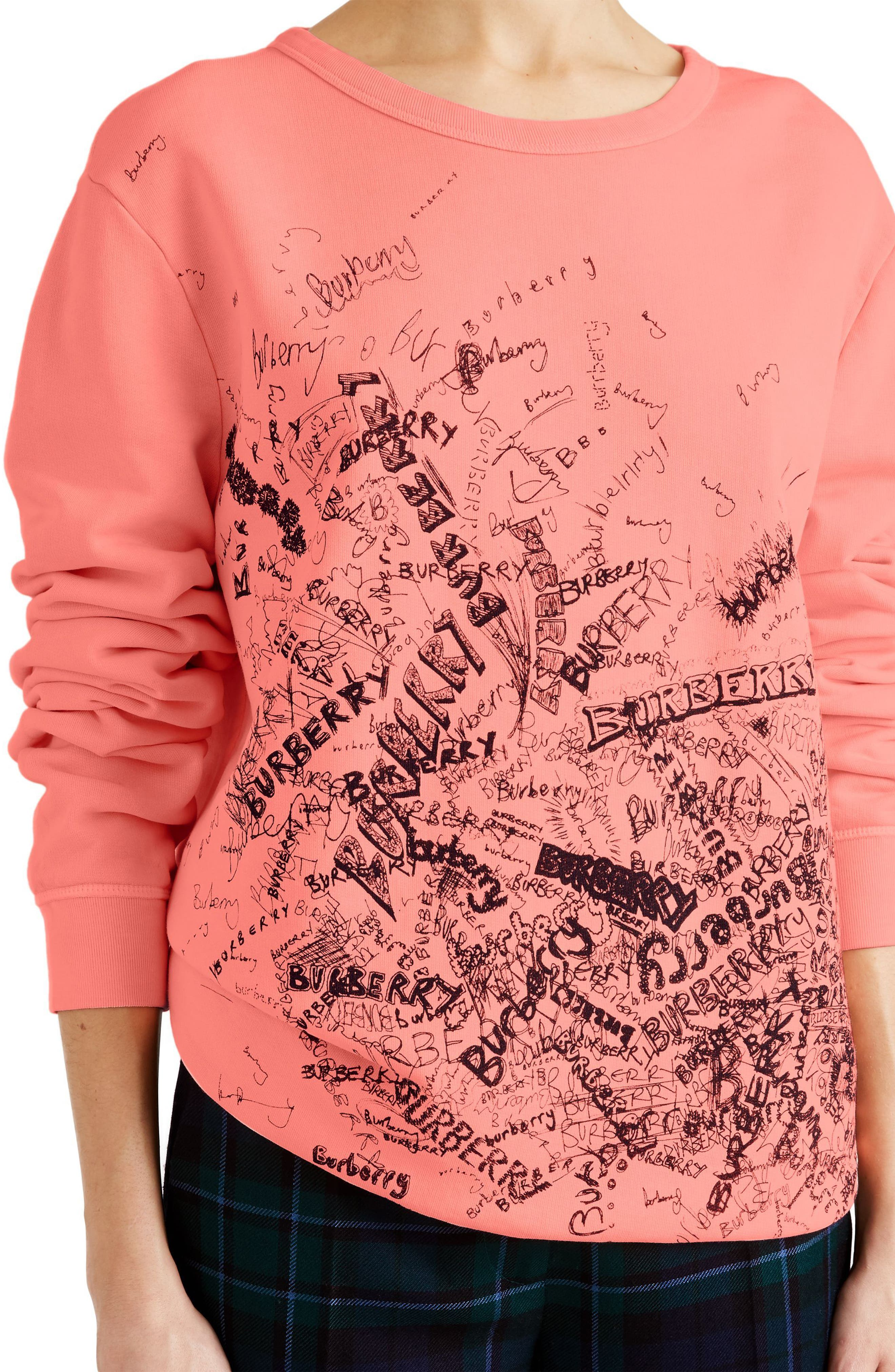Doodle Print Cotton Sweatshirt,                             Alternate thumbnail 3, color,                             828