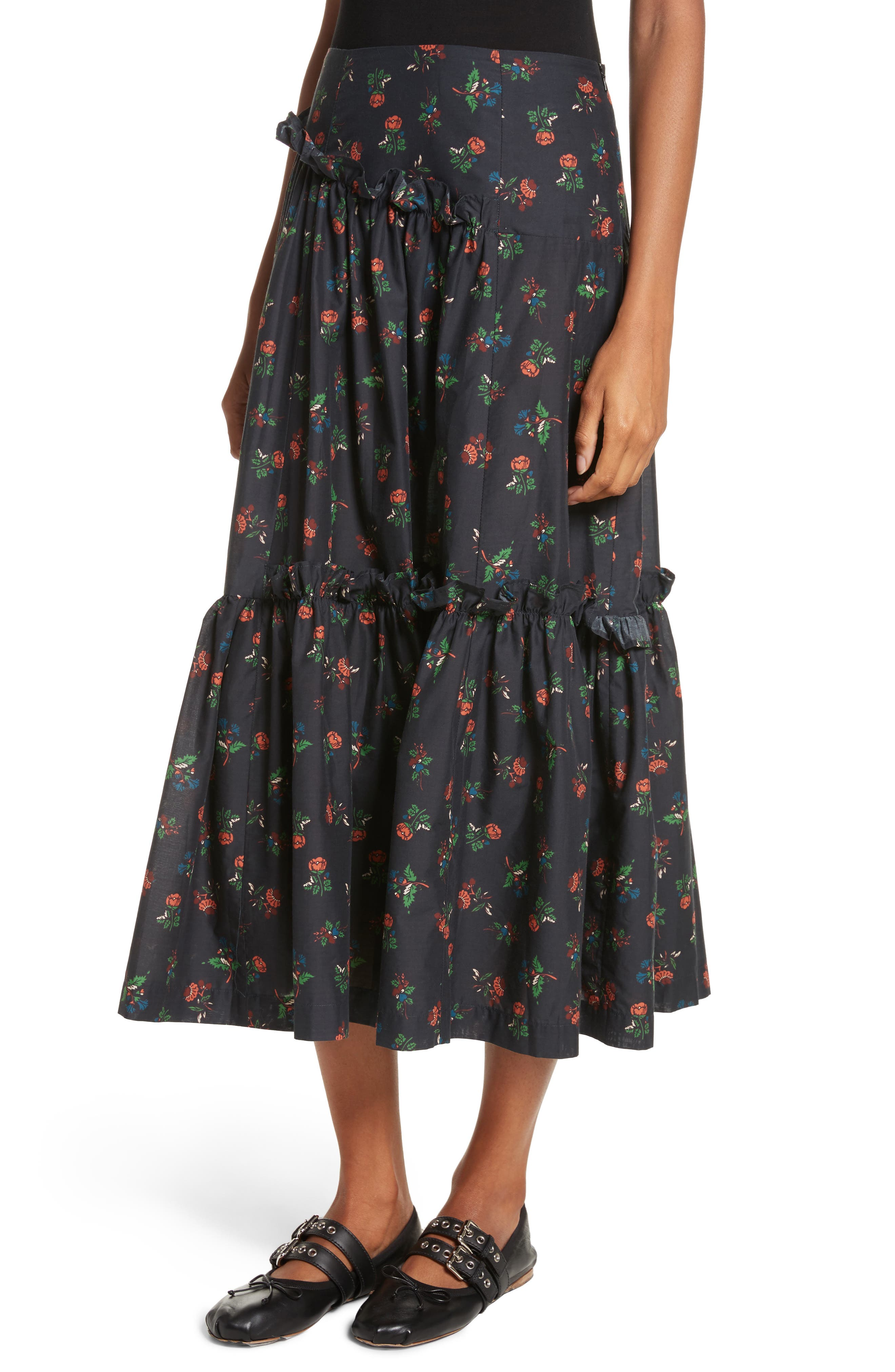 Tracey Floral Skirt,                             Alternate thumbnail 4, color,                             001