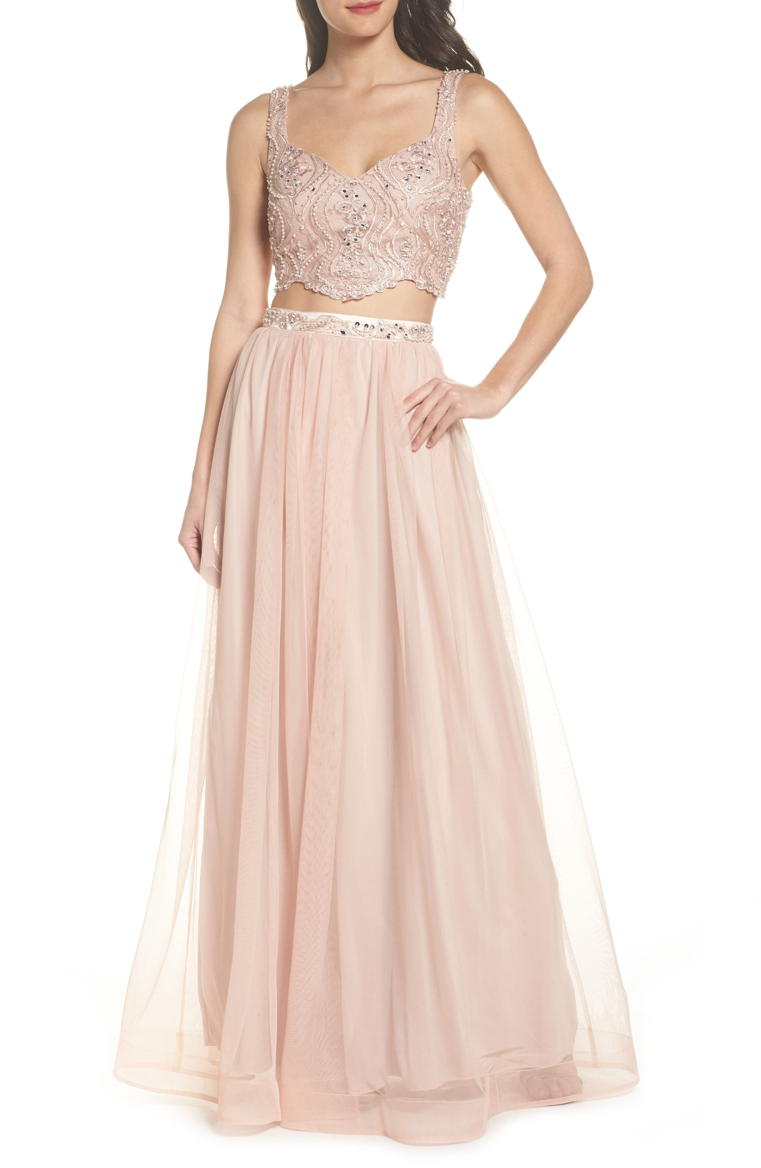 Sequin Hearts Beaded Lace Two-Piece Gown, Pink