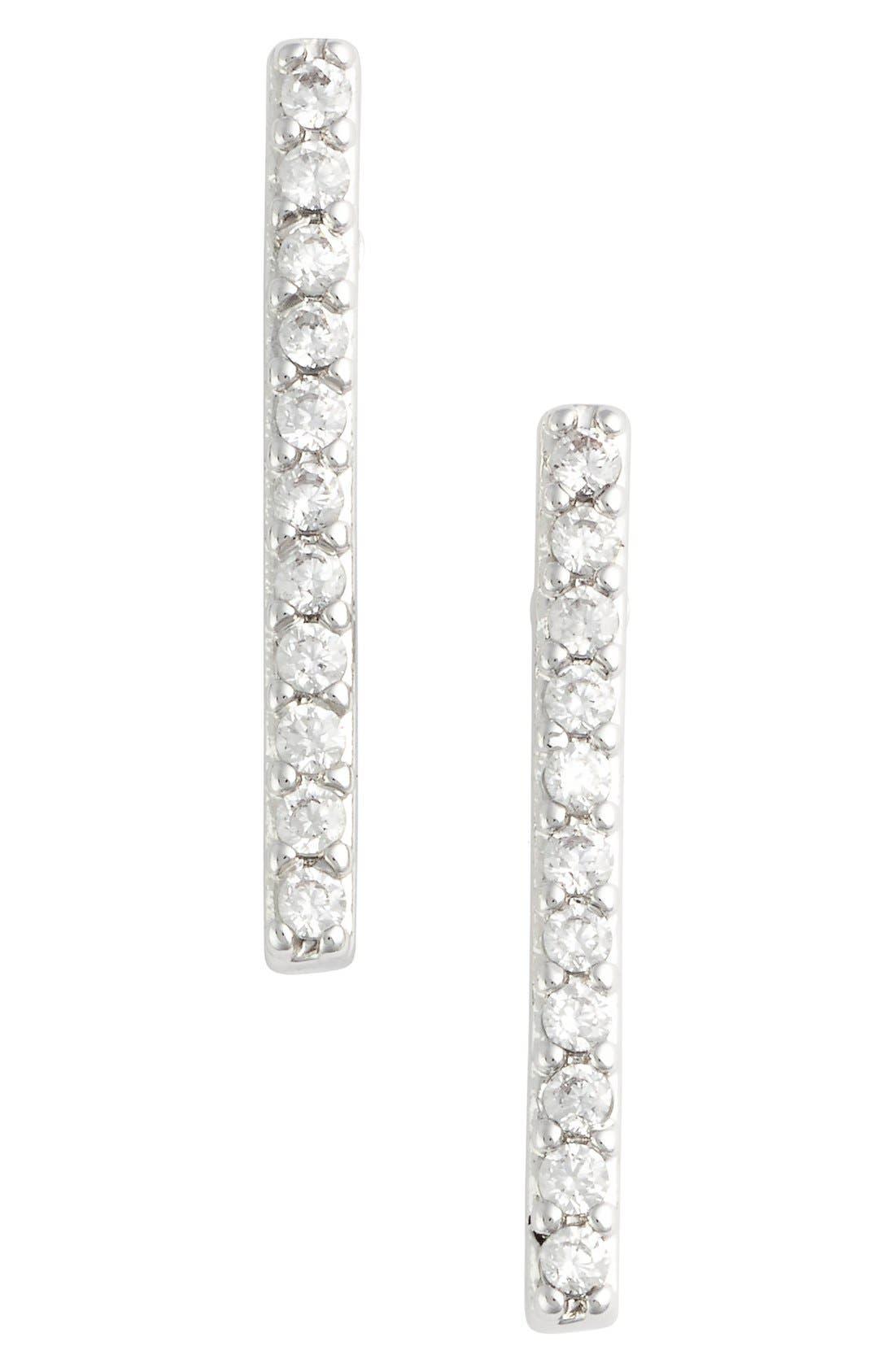 'Micro' Pavé Bar Stud Earrings,                             Main thumbnail 1, color,                             040