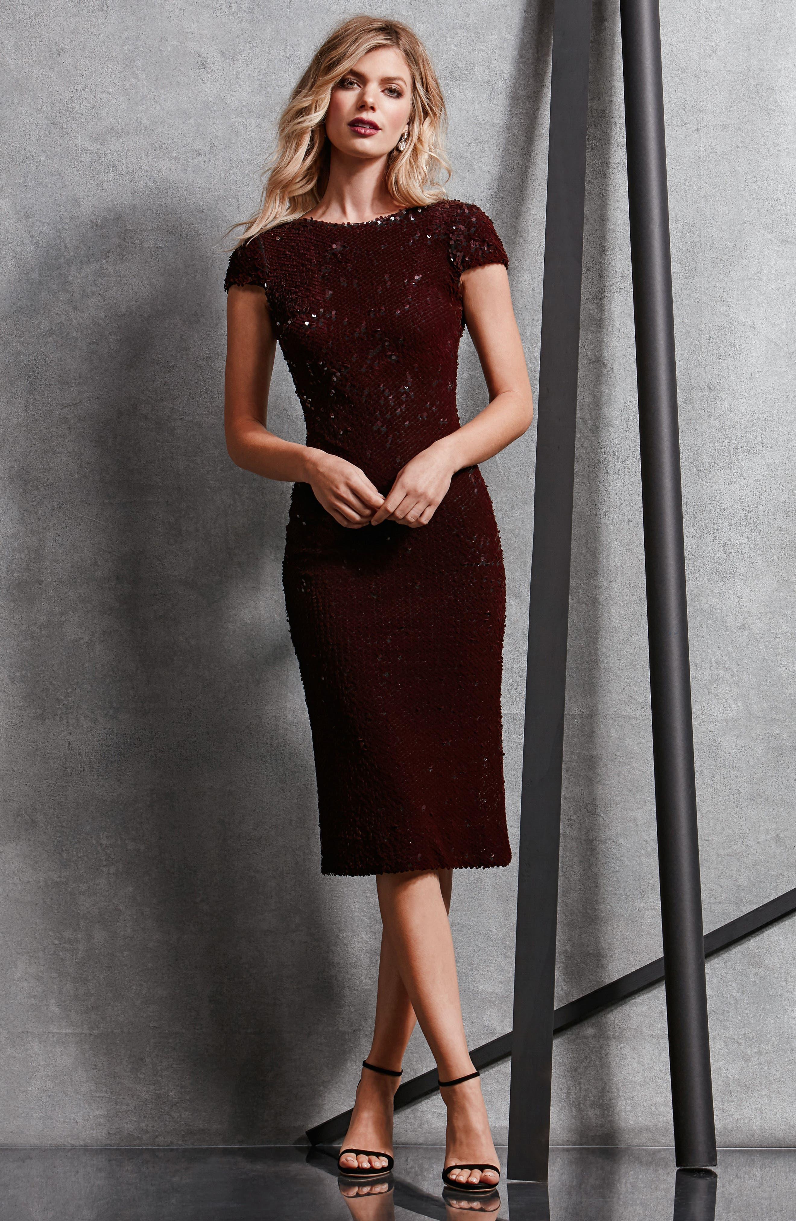 Marcella Sequin Body-Con Dress,                             Alternate thumbnail 14, color,