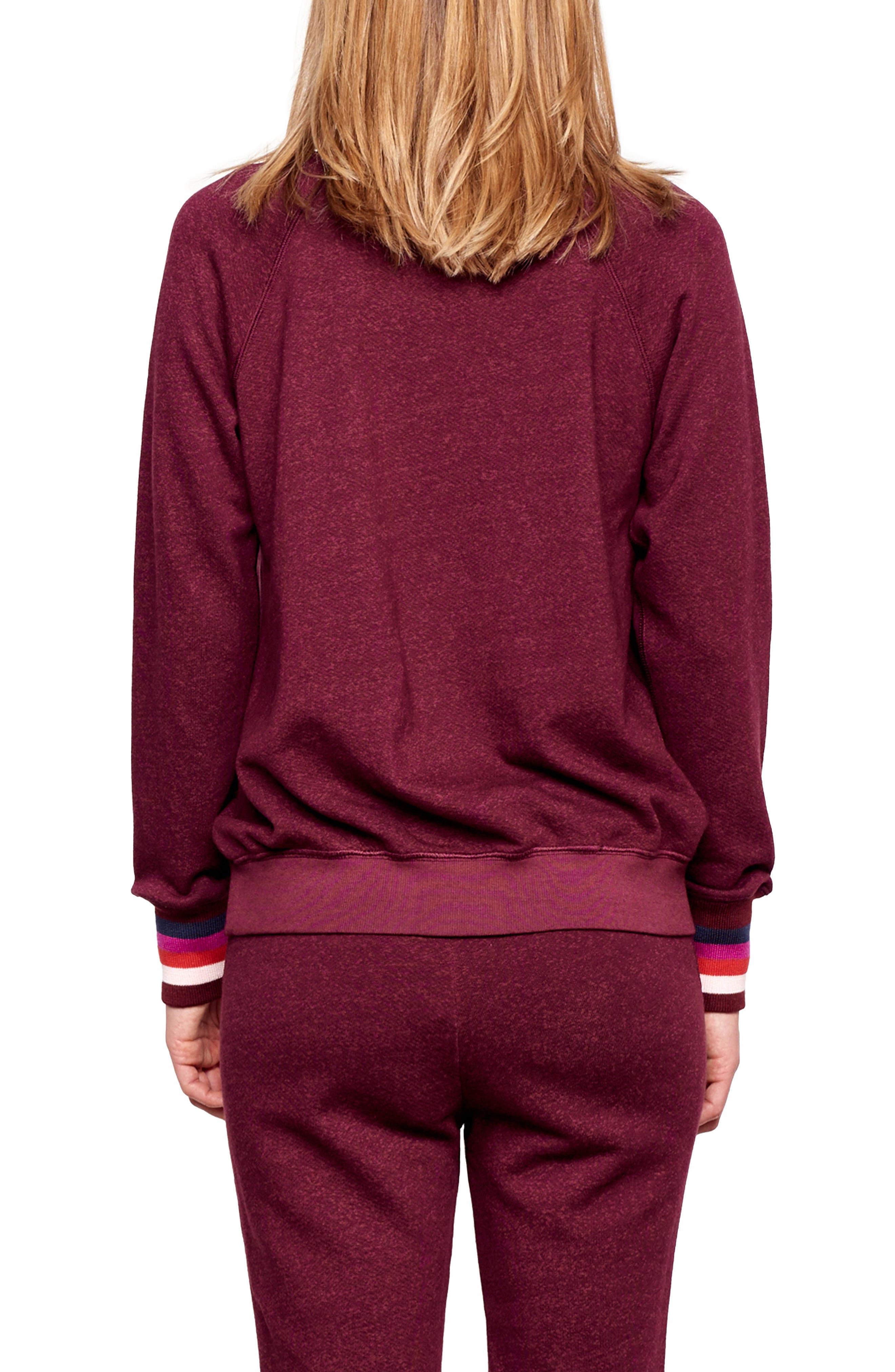 Stripe Cuff Sweatshirt,                             Alternate thumbnail 2, color,                             WINE
