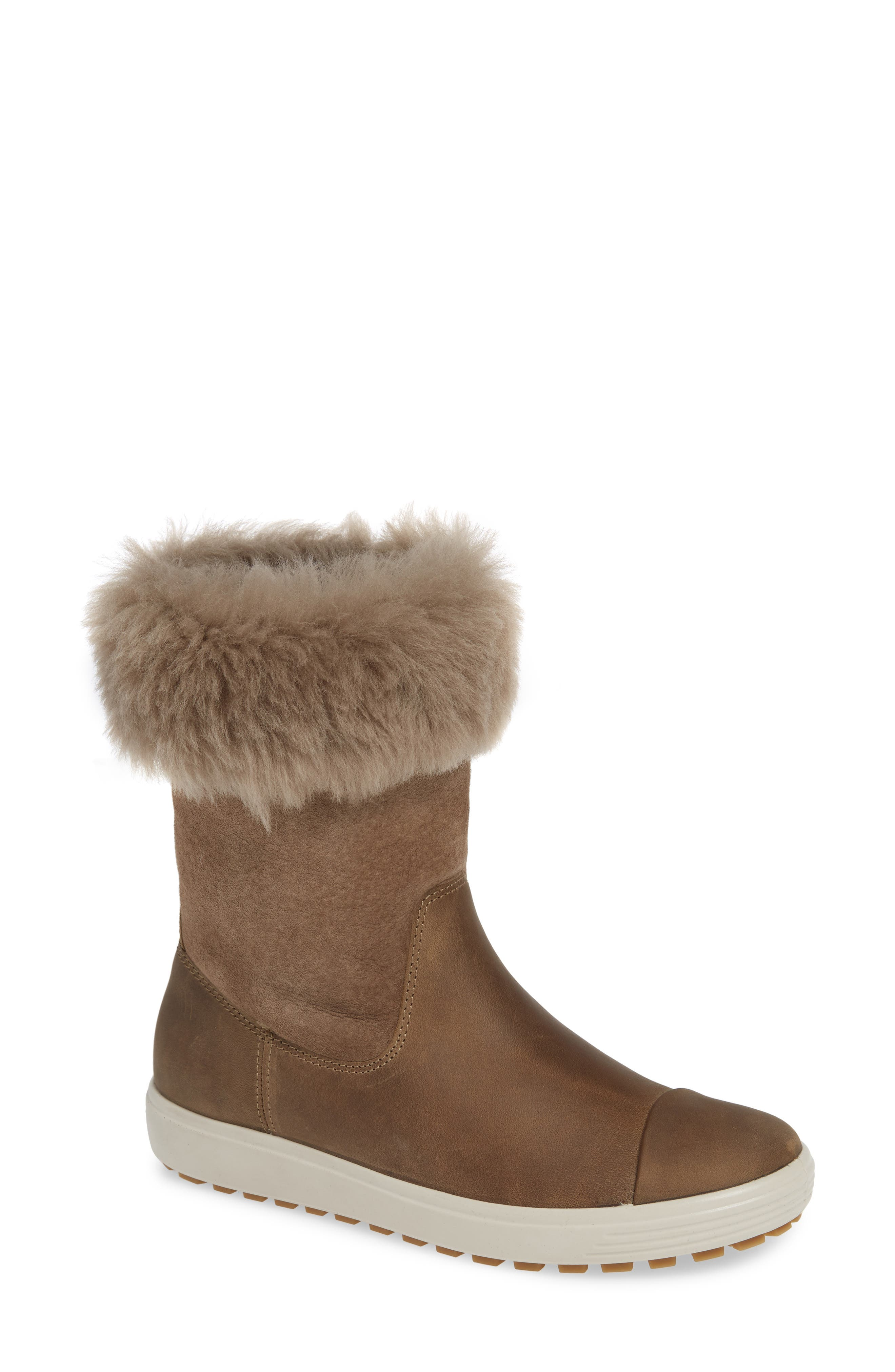 Ecco Soft 7 Tred Waterproof Genuine Shearling Lined Boot, Brown