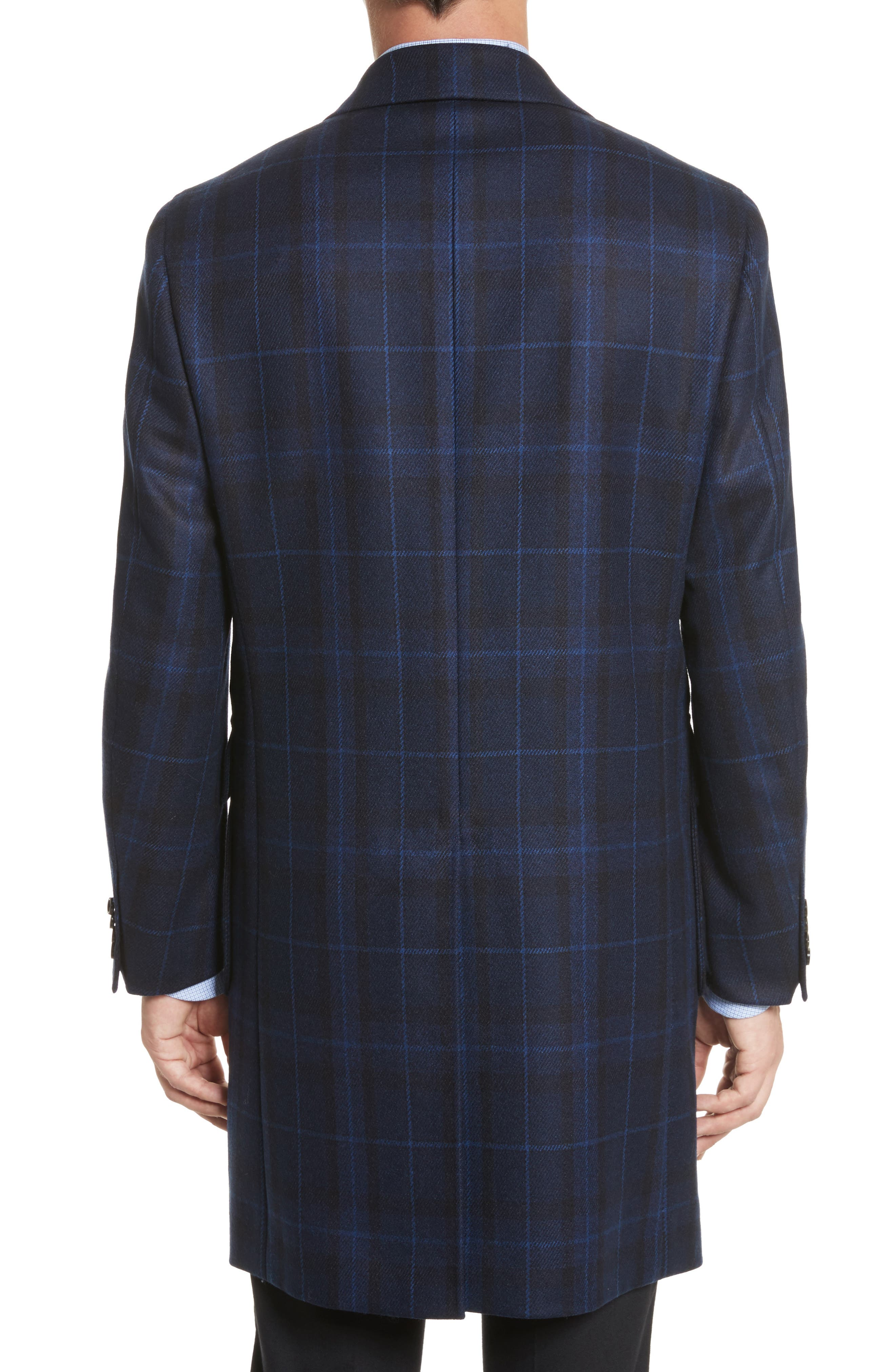 Classic Fit Plaid Wool & Cashmere Blend Topcoat,                             Alternate thumbnail 2, color,                             410