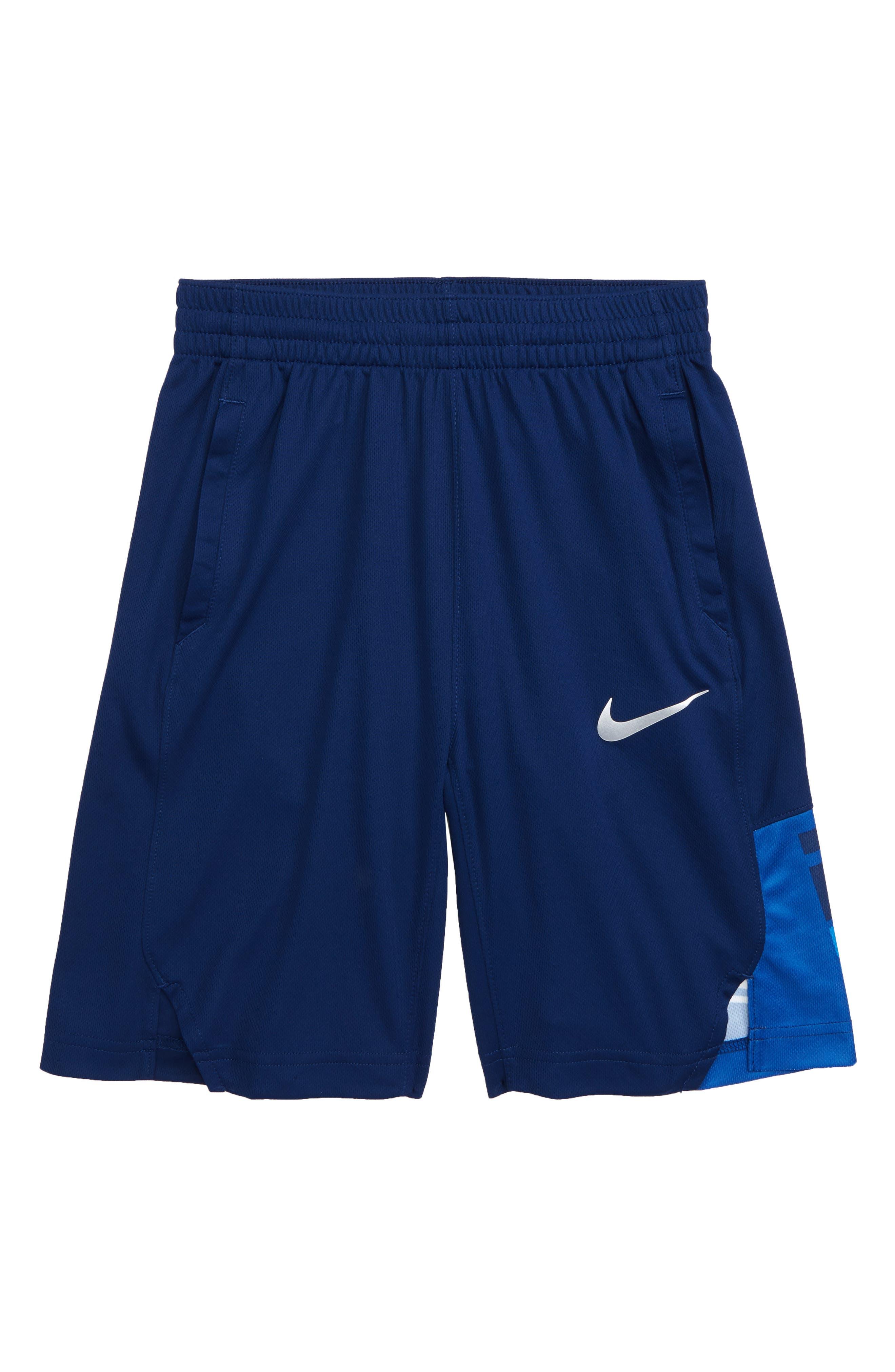 Dry Elite Athletic Shorts,                             Main thumbnail 1, color,                             BLUE VOID/ WHITE