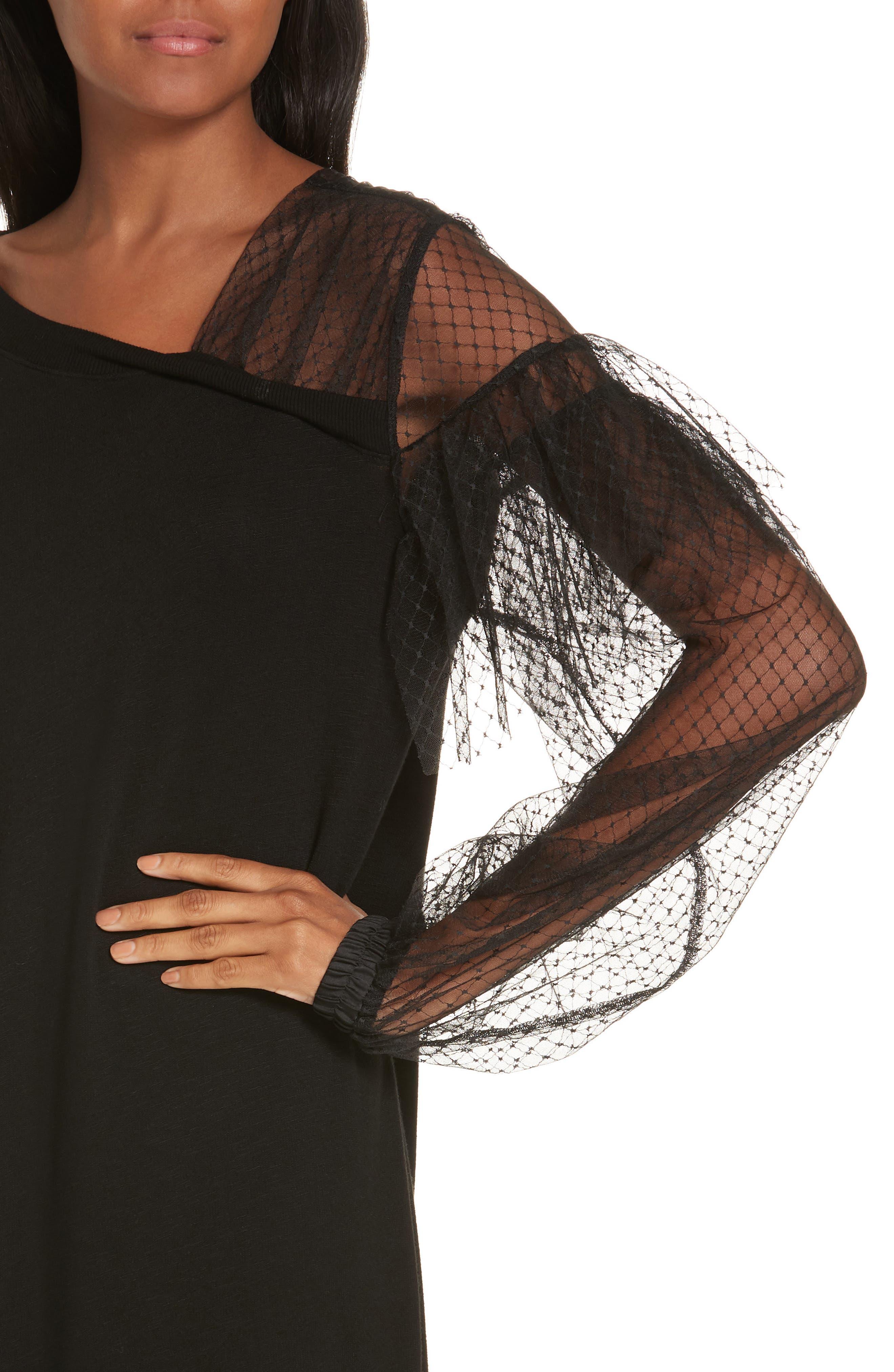 Mix Media Asymmetrical Hem Ruffle Dress,                             Alternate thumbnail 4, color,                             BLACK