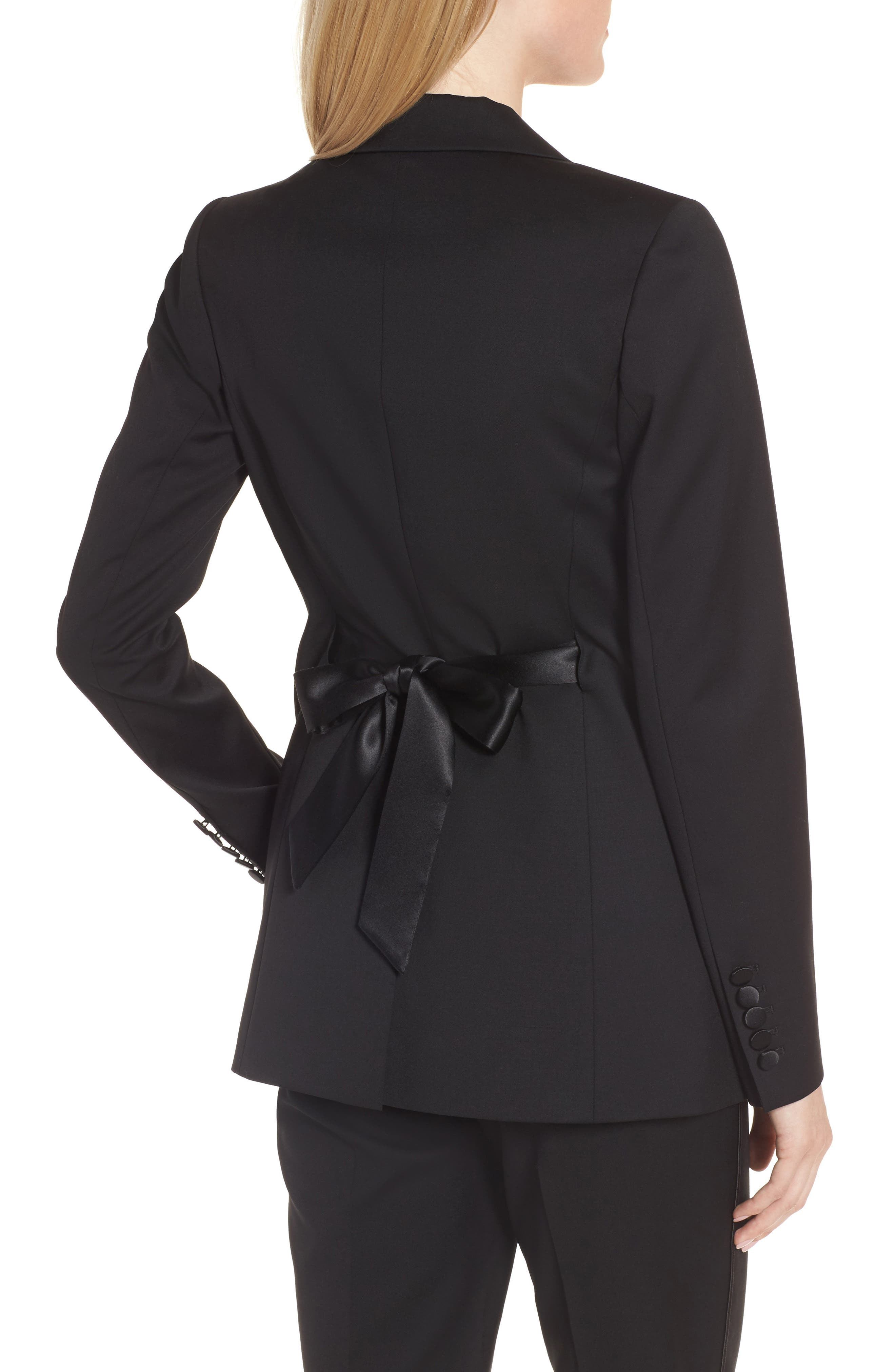Tuxedo Detail Wool Suit Jacket,                             Alternate thumbnail 2, color,                             001
