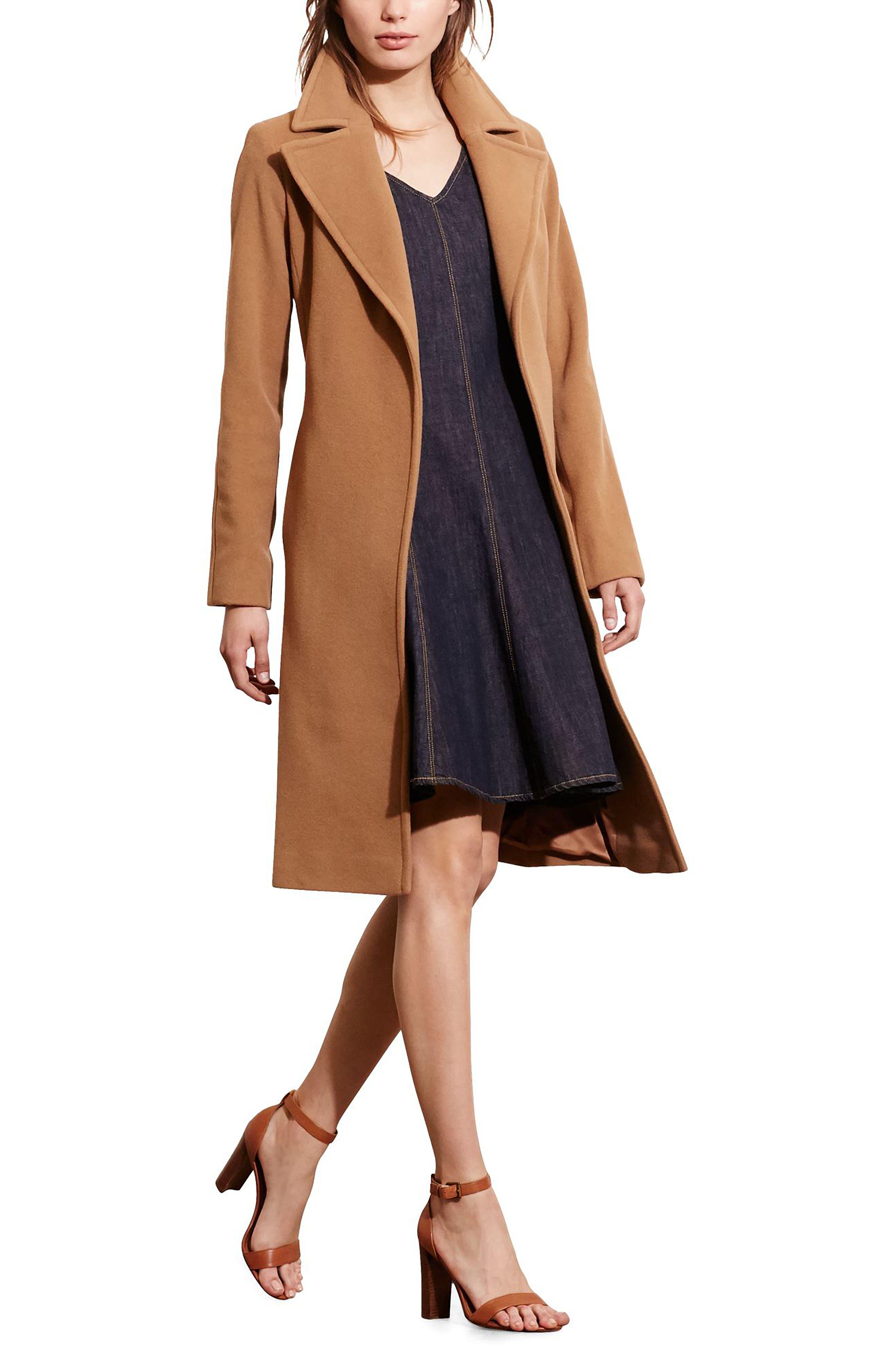 LAUREN RALPH LAUREN, Wool Blend Wrap Coat, Alternate thumbnail 4, color, 256