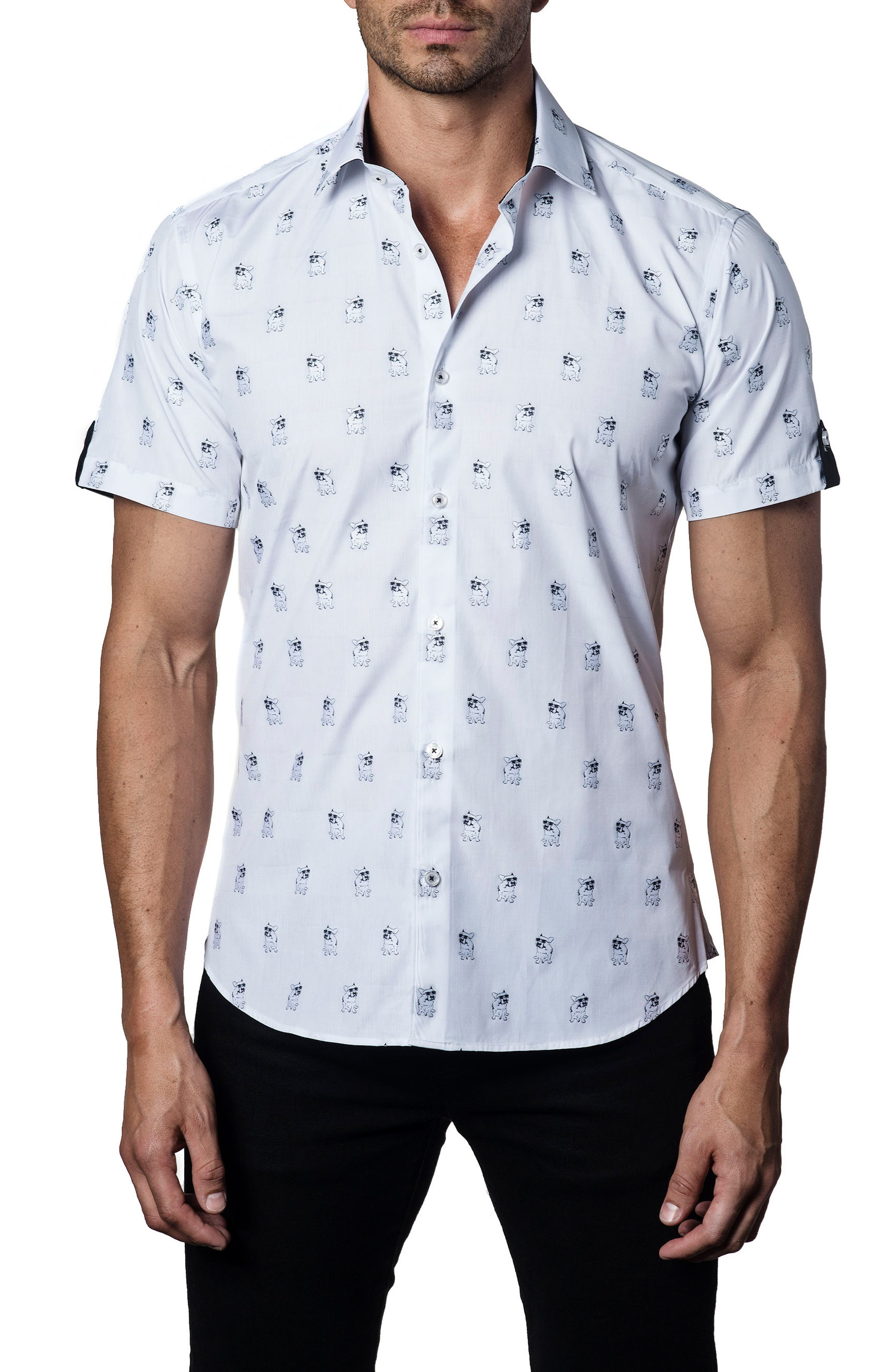 Trim Fit Print Sport Shirt,                         Main,                         color, 100