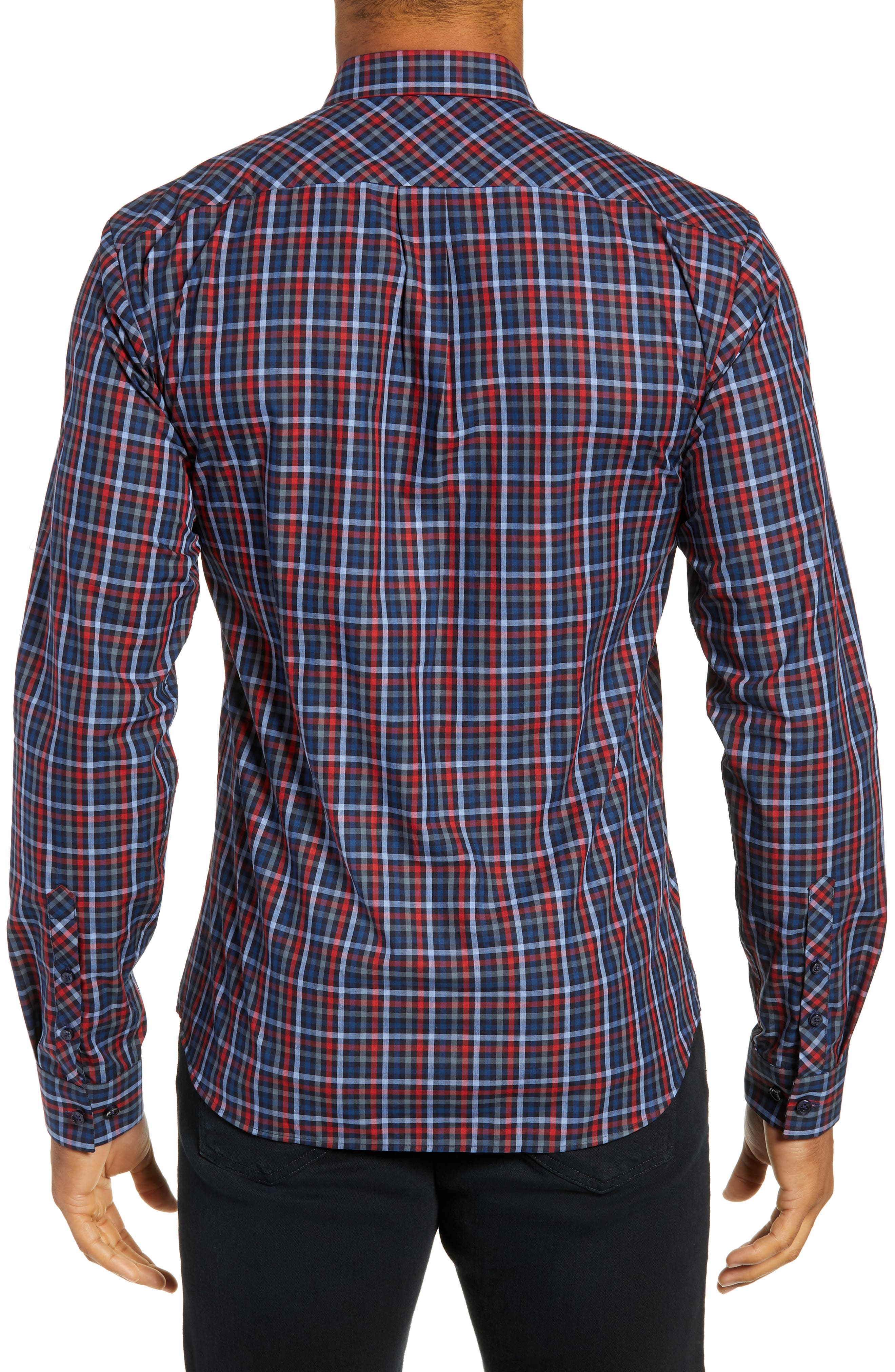 Trim Fit Sport Shirt,                             Alternate thumbnail 3, color,                             RED - BLUE MULTI CHECK