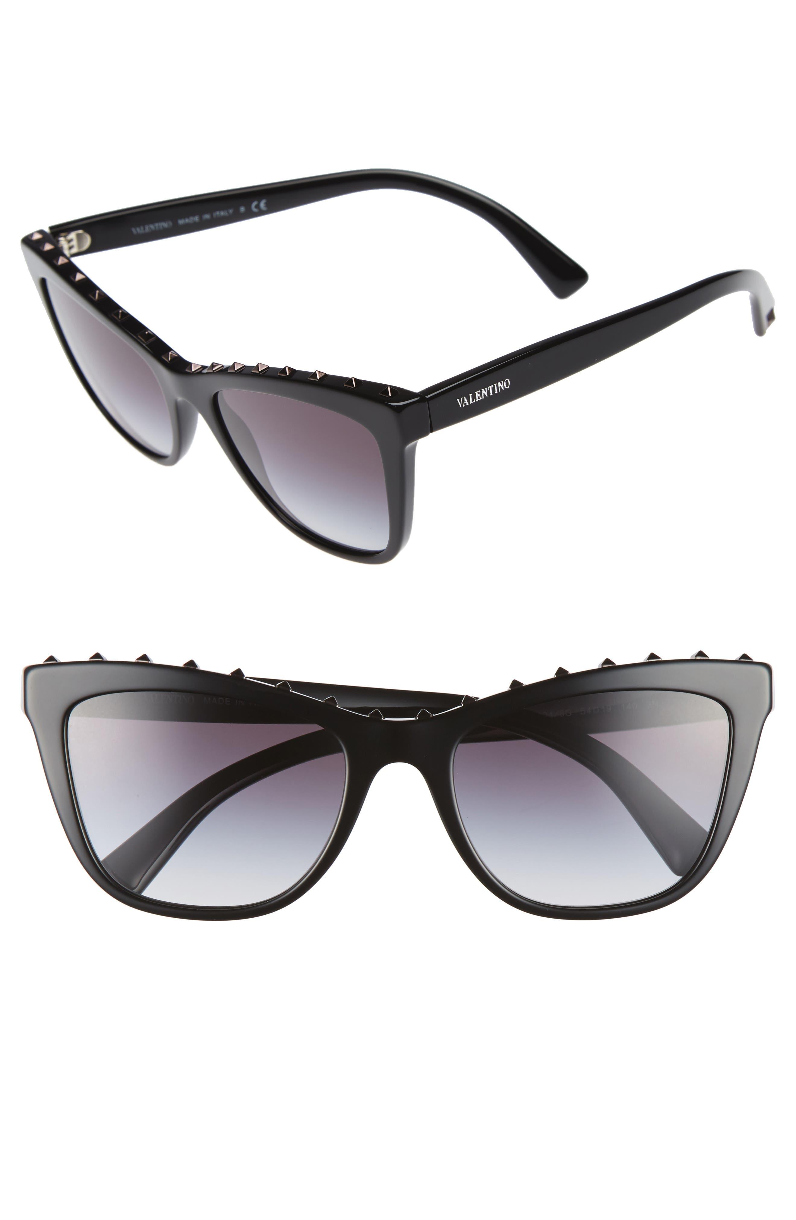 Rockstud 54mm Cat Eye Sunglasses,                             Main thumbnail 1, color,                             001