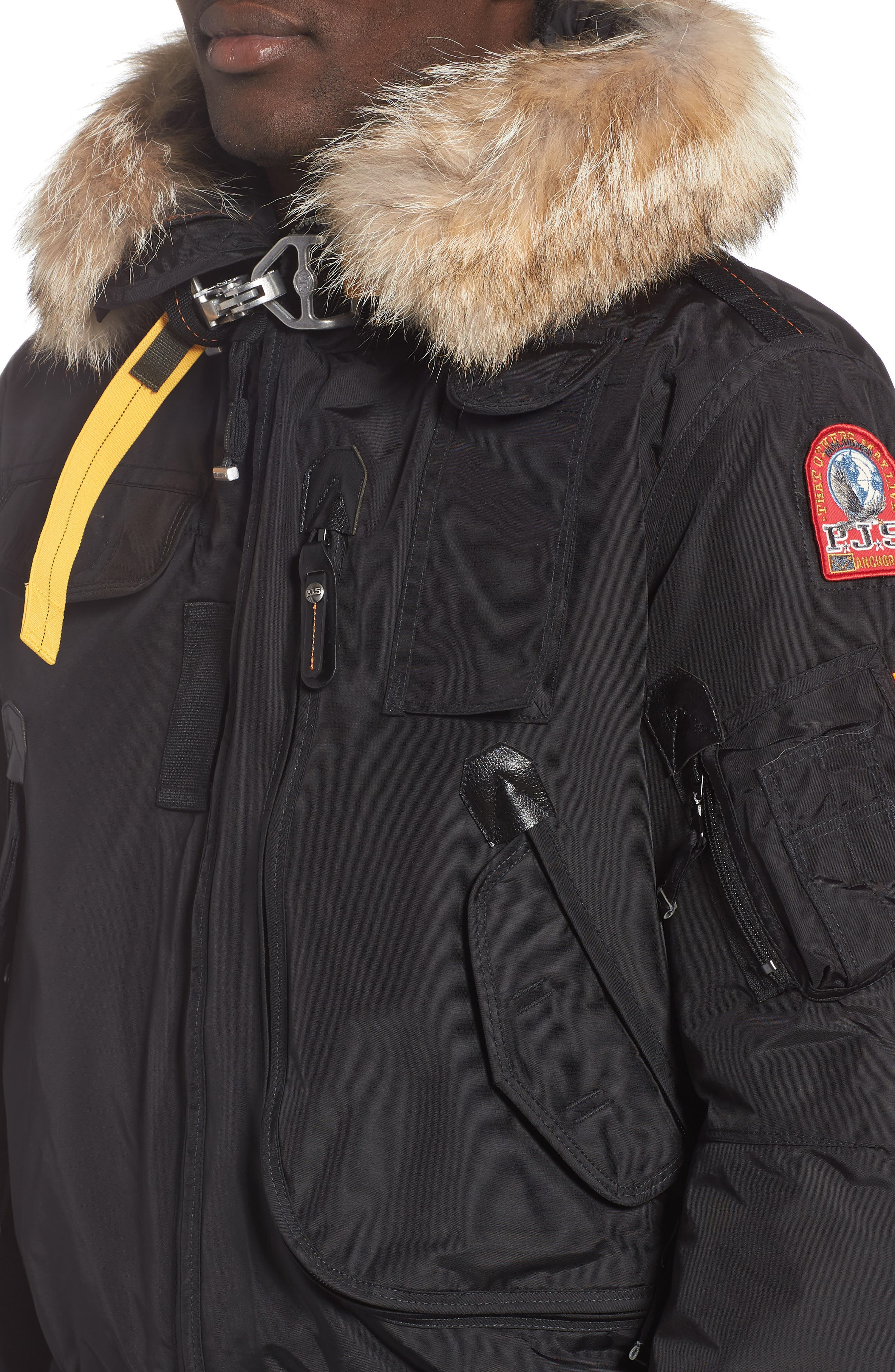 Gobi 700 Fill Power Down Bomber Jacket with Genuine Coyote Fur Trim,                             Alternate thumbnail 4, color,                             BLACK
