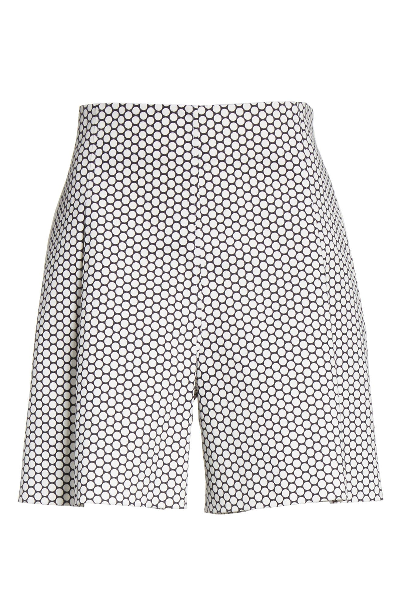 DVF,                             Diane von Furstenberg Dot High Waist Stretch Cotton Shorts,                             Alternate thumbnail 6, color,                             905