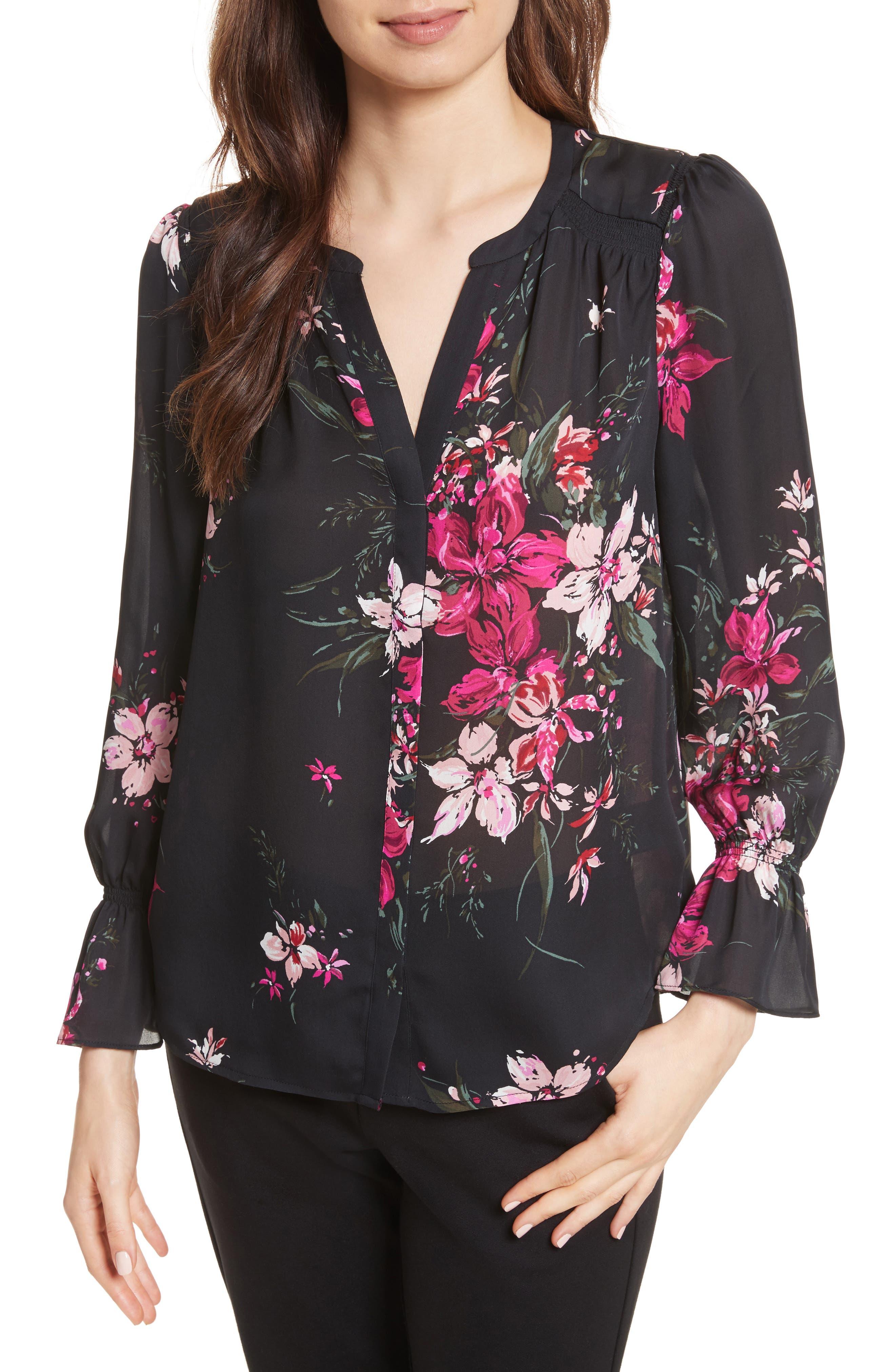 Keno Bell Sleeve Silk Blouse,                         Main,                         color, 696