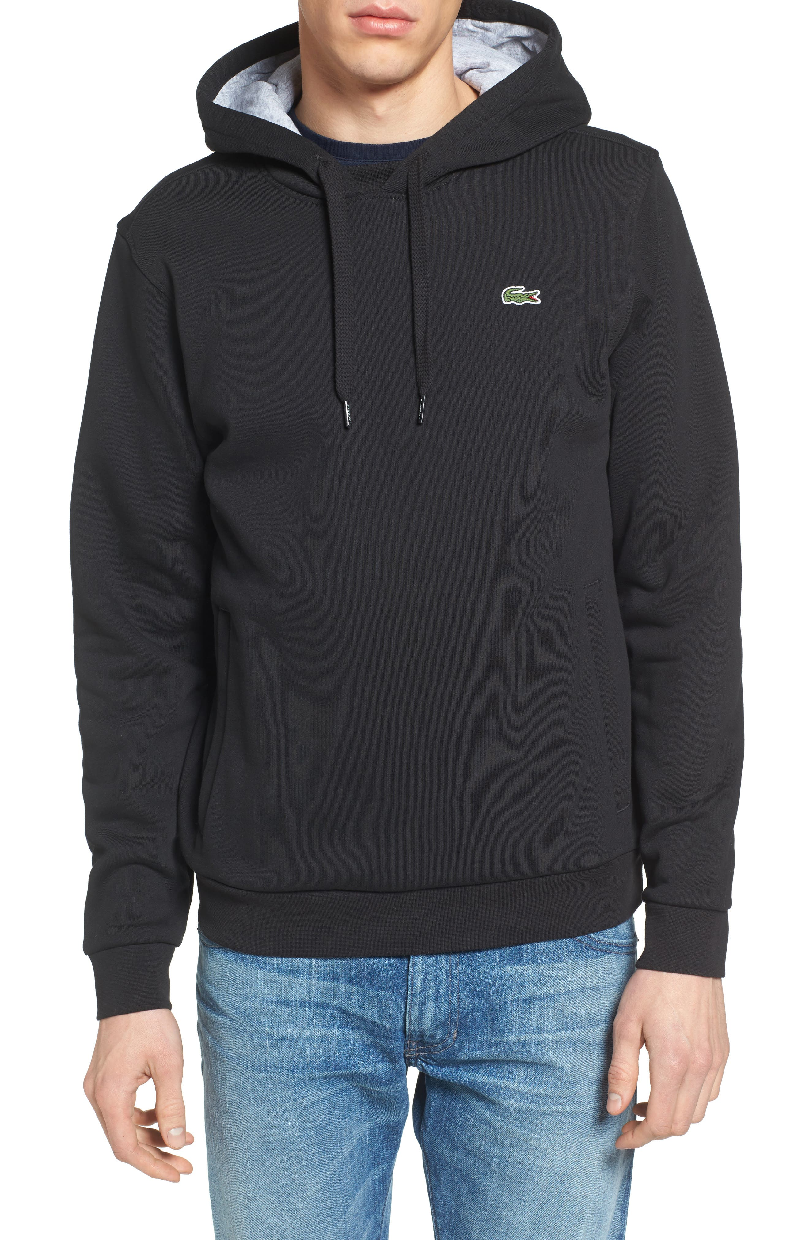 Sport Cotton Blend Hoodie,                         Main,                         color, BLACK/ SILVER CHINE