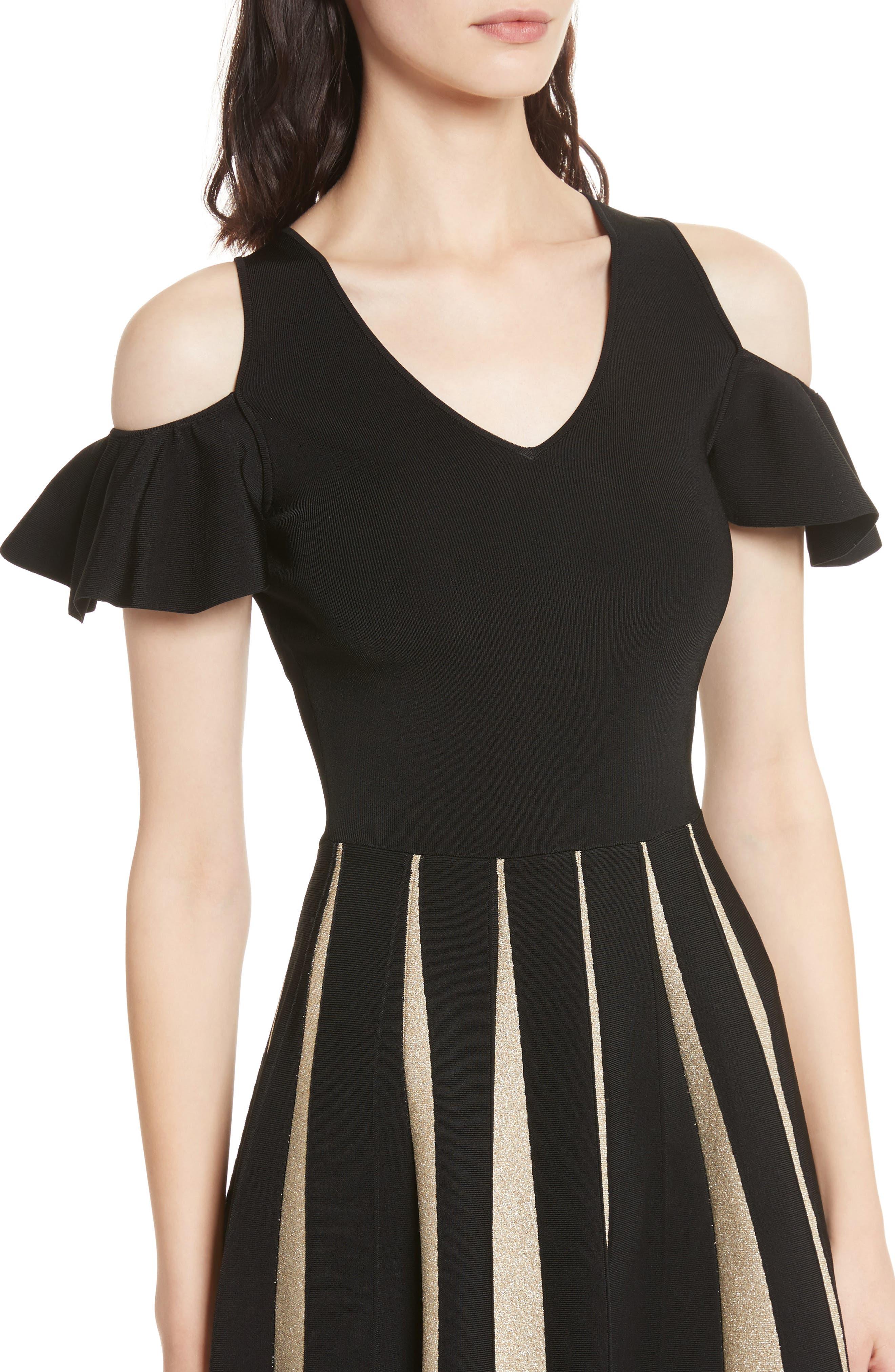 Flippy Cold Shoulder Skater Dress,                             Alternate thumbnail 4, color,