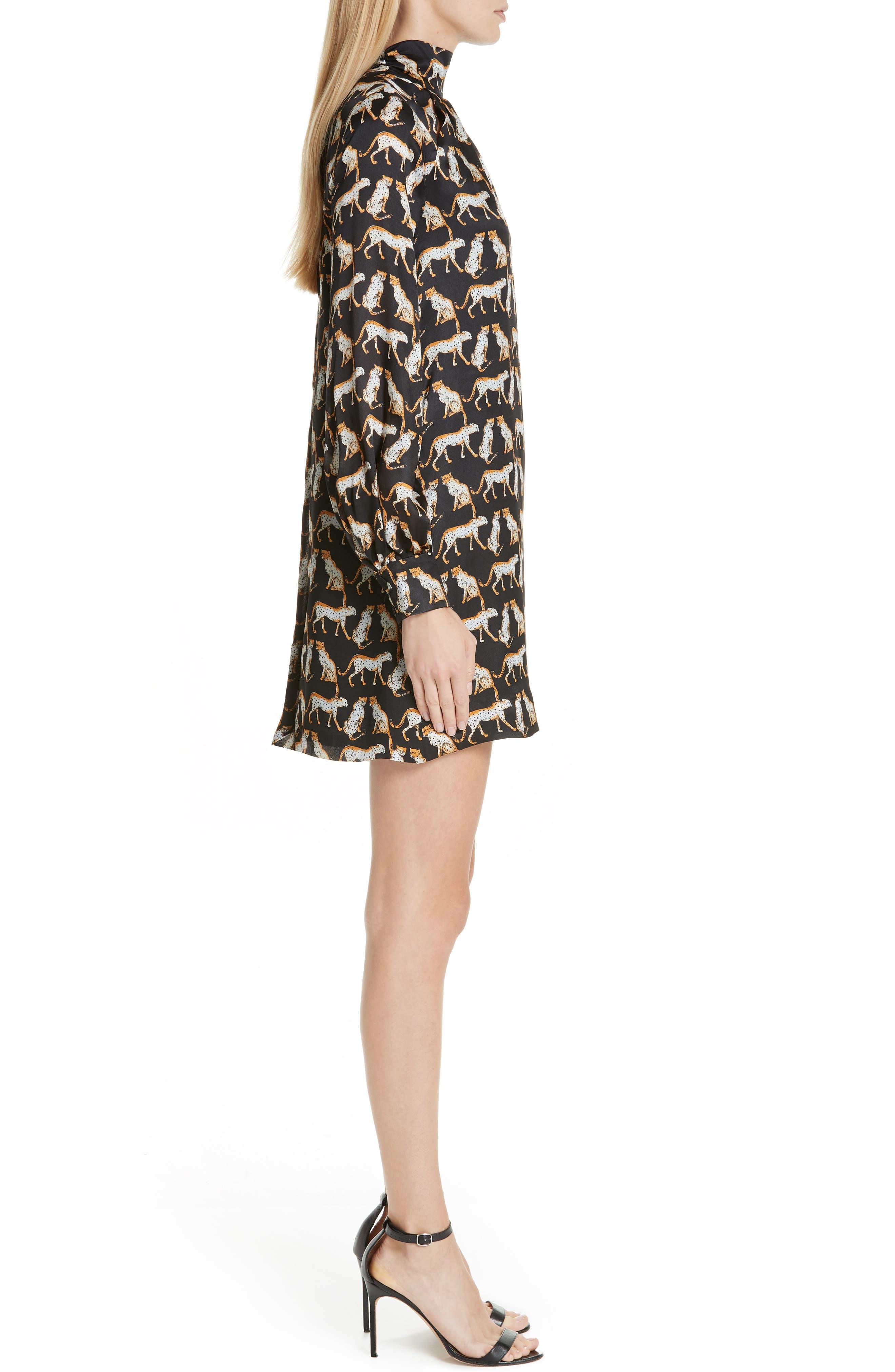 MILLY,                             Cheetah Print High Neck Silk Dress,                             Alternate thumbnail 3, color,                             001