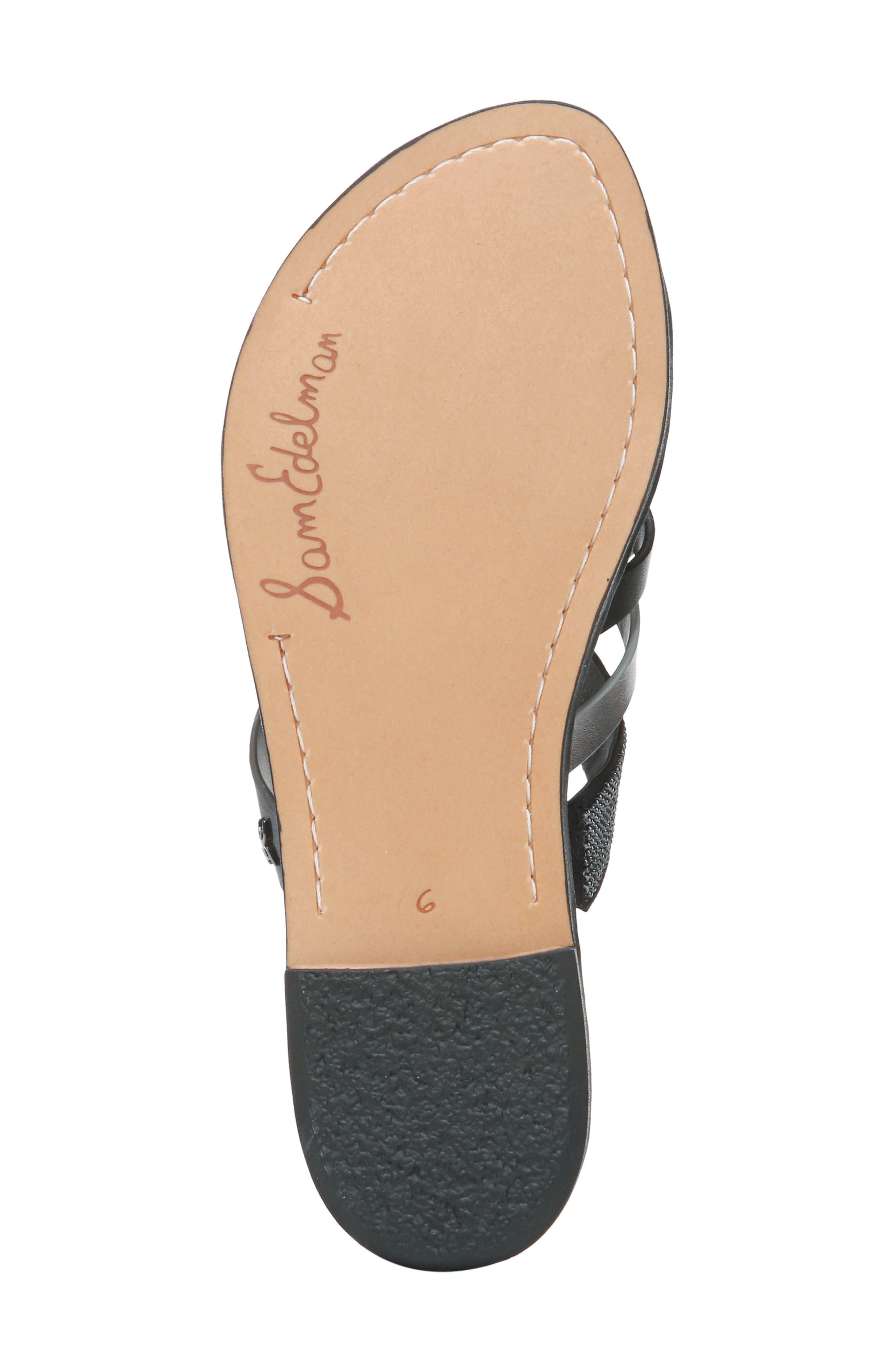 Glennia Slide Sandal,                             Alternate thumbnail 6, color,                             DARK PEWTER/ BLACK LEATHER