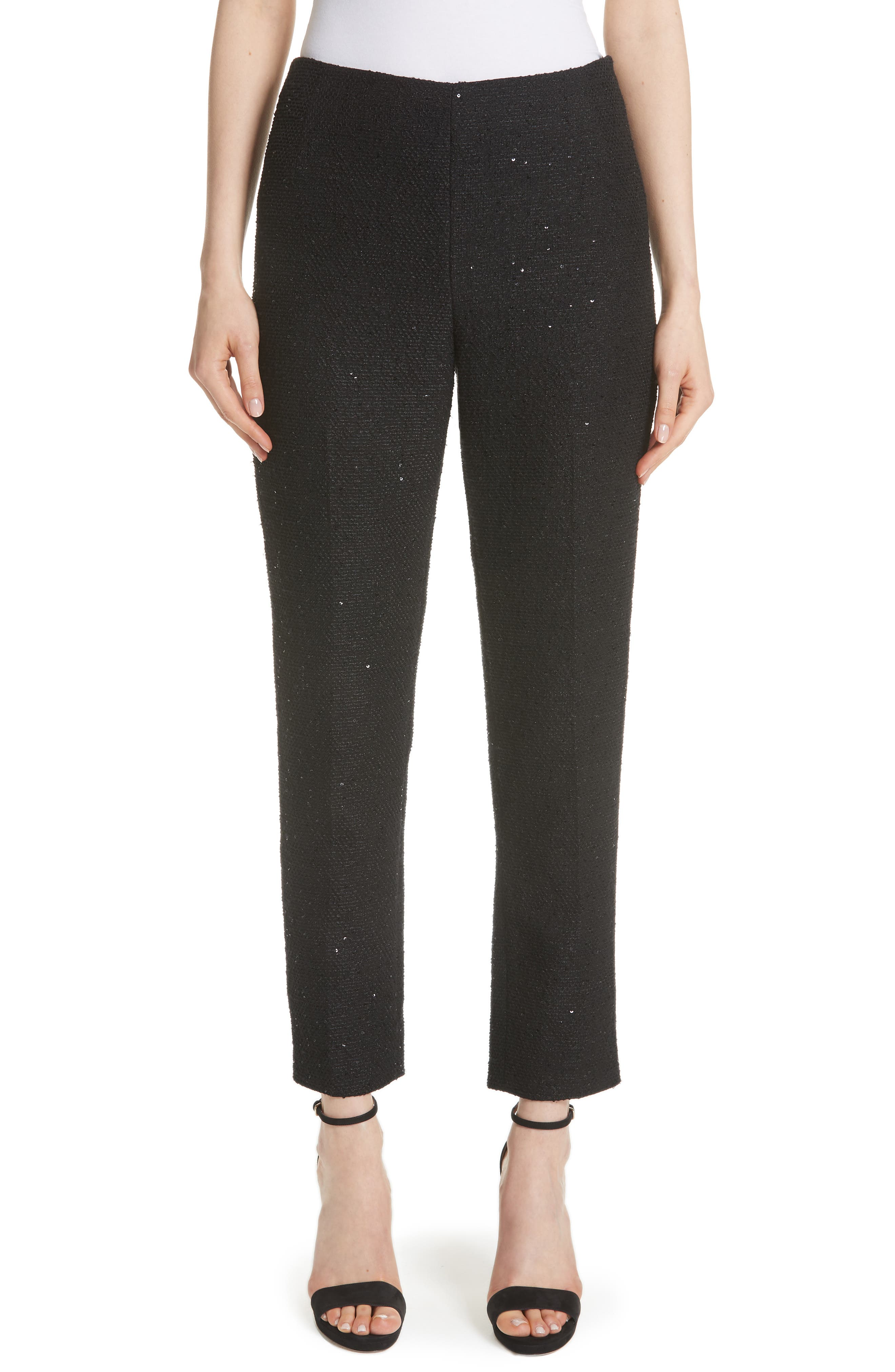 LELA ROSE Sequin Embroidered Tweed High Waist Pants in Black