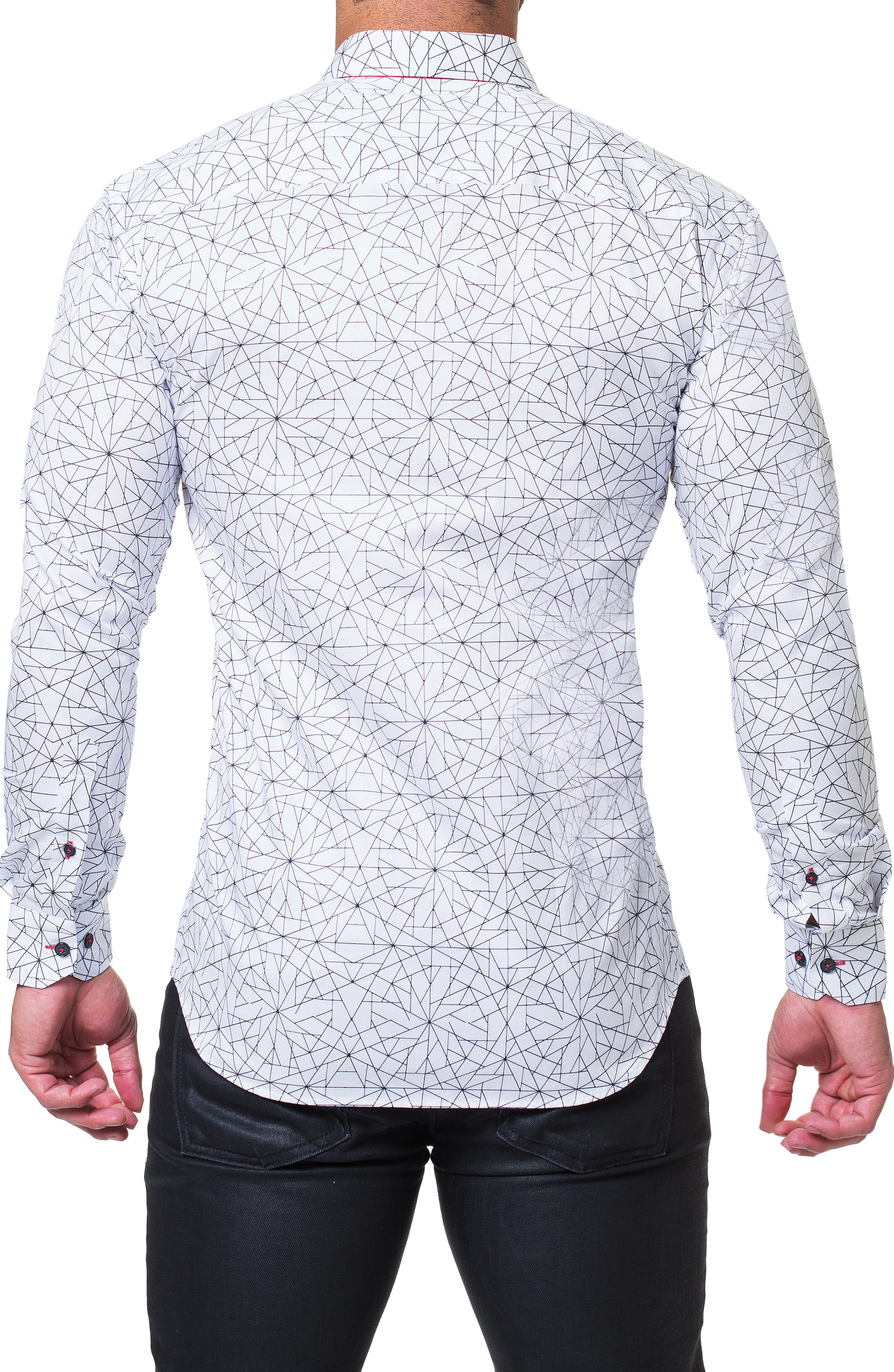 Fibonacci Geometric Regular Fit Print Sport Shirt,                             Alternate thumbnail 2, color,                             WHITE
