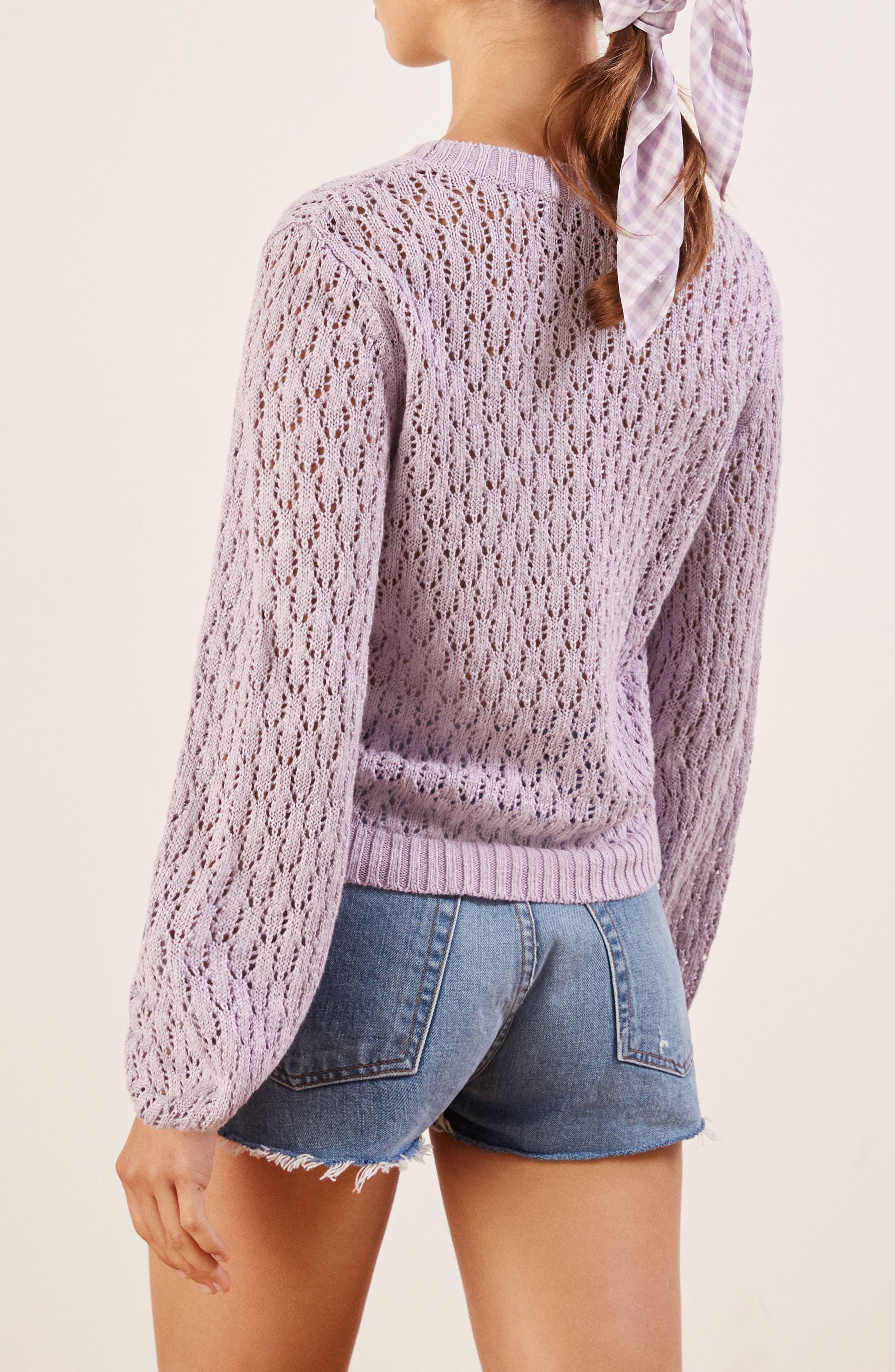 Rose Pointelle Linen Sweater,                             Alternate thumbnail 3, color,                             LILAC