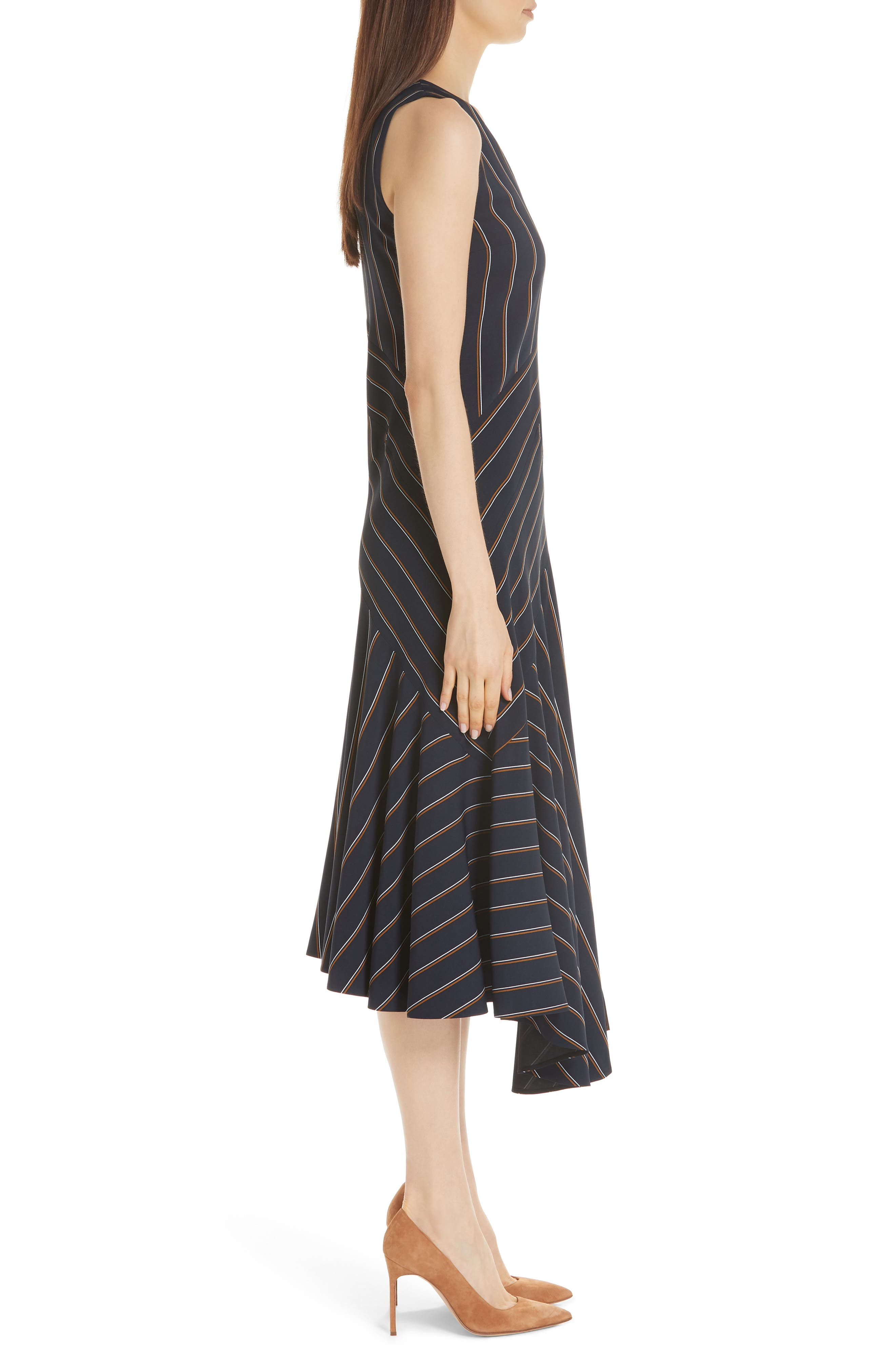 Ashlena Asymmetrical Stripe Dress,                             Alternate thumbnail 3, color,                             INK MULTI