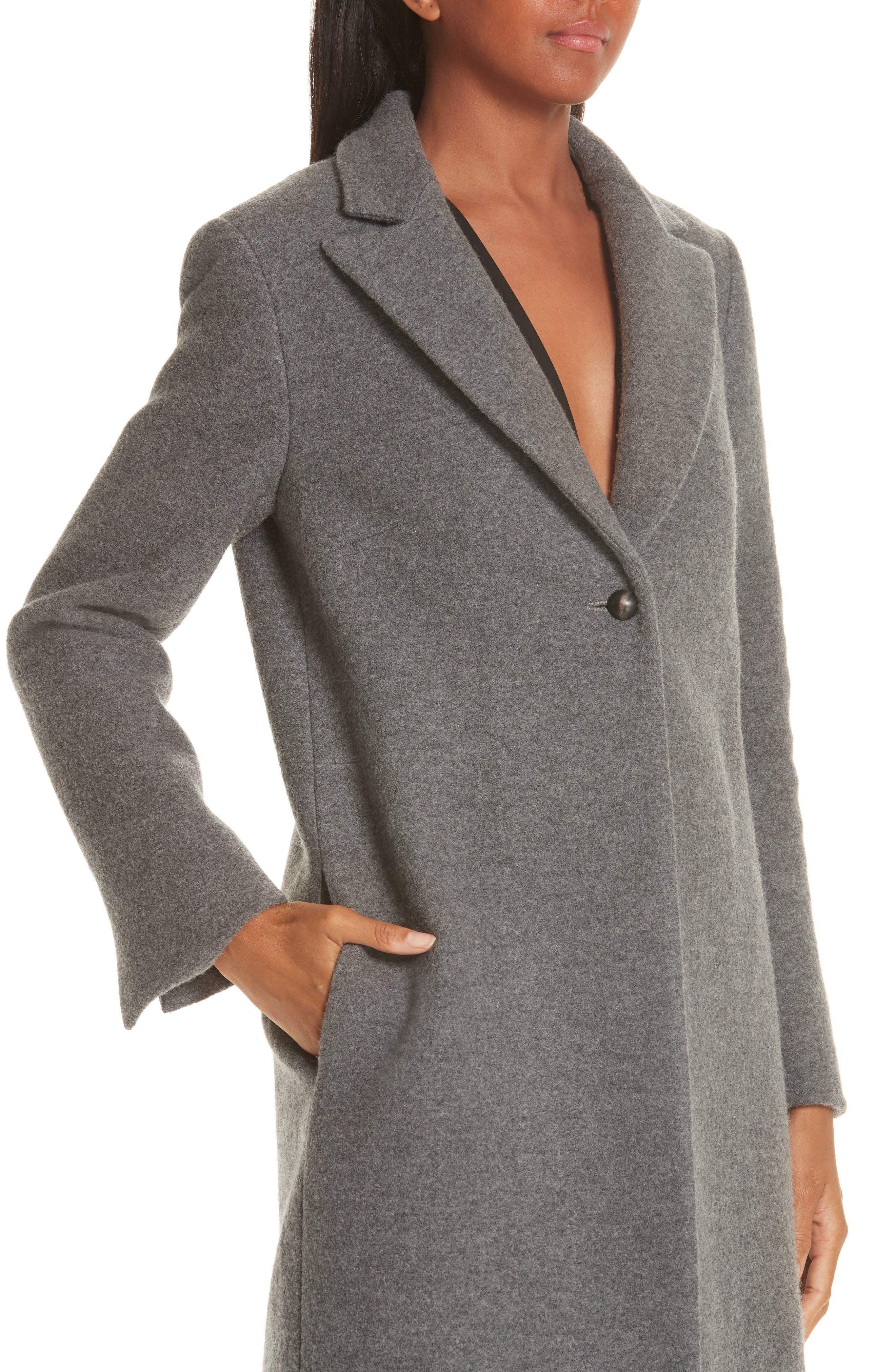 One Button Wool Coat,                             Alternate thumbnail 4, color,                             GREY MELANGE