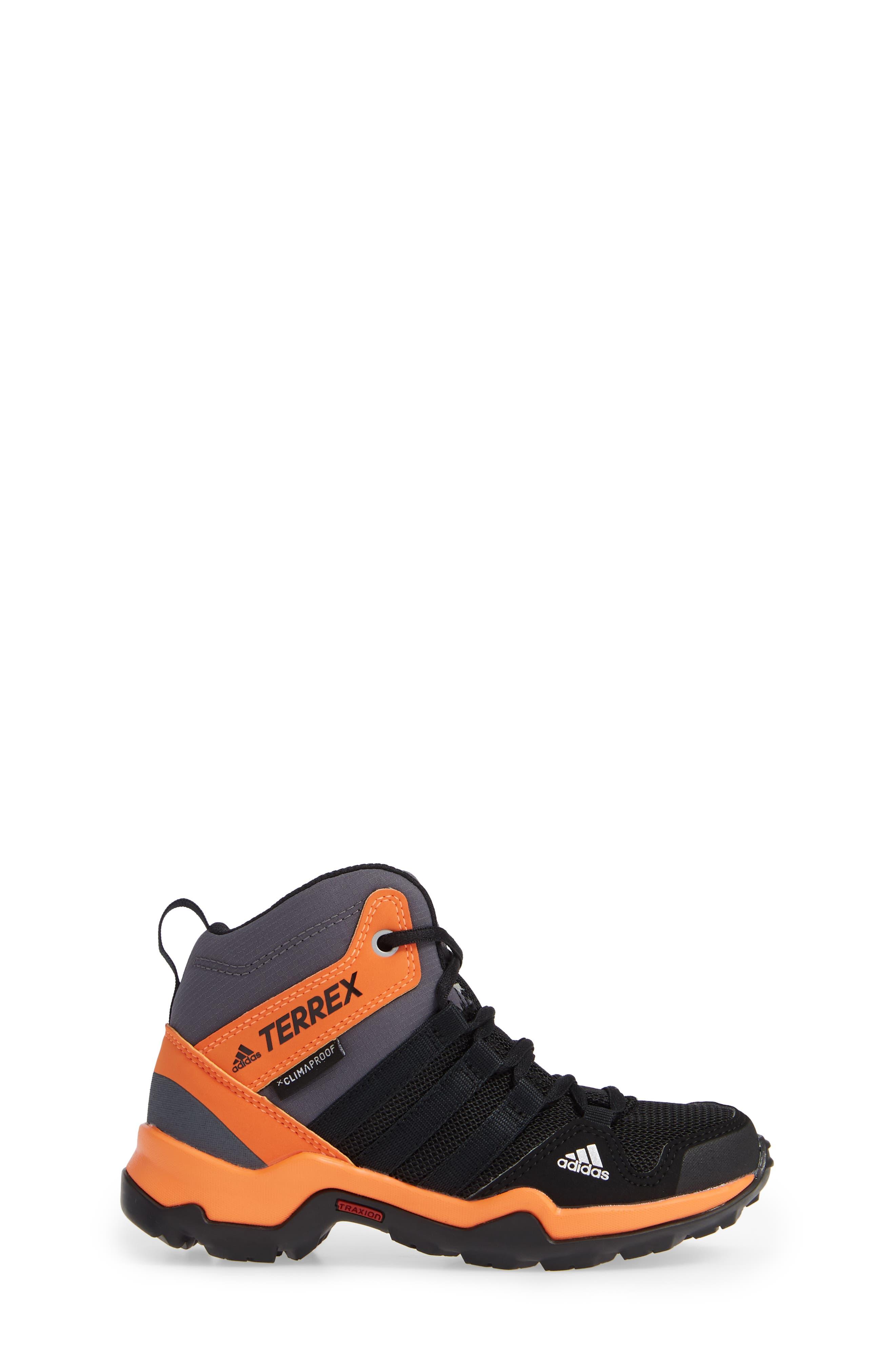 Terrex AX2R Mid Sneaker,                             Alternate thumbnail 3, color,                             BLACK/ BLACK/ HI-RES ORANGE