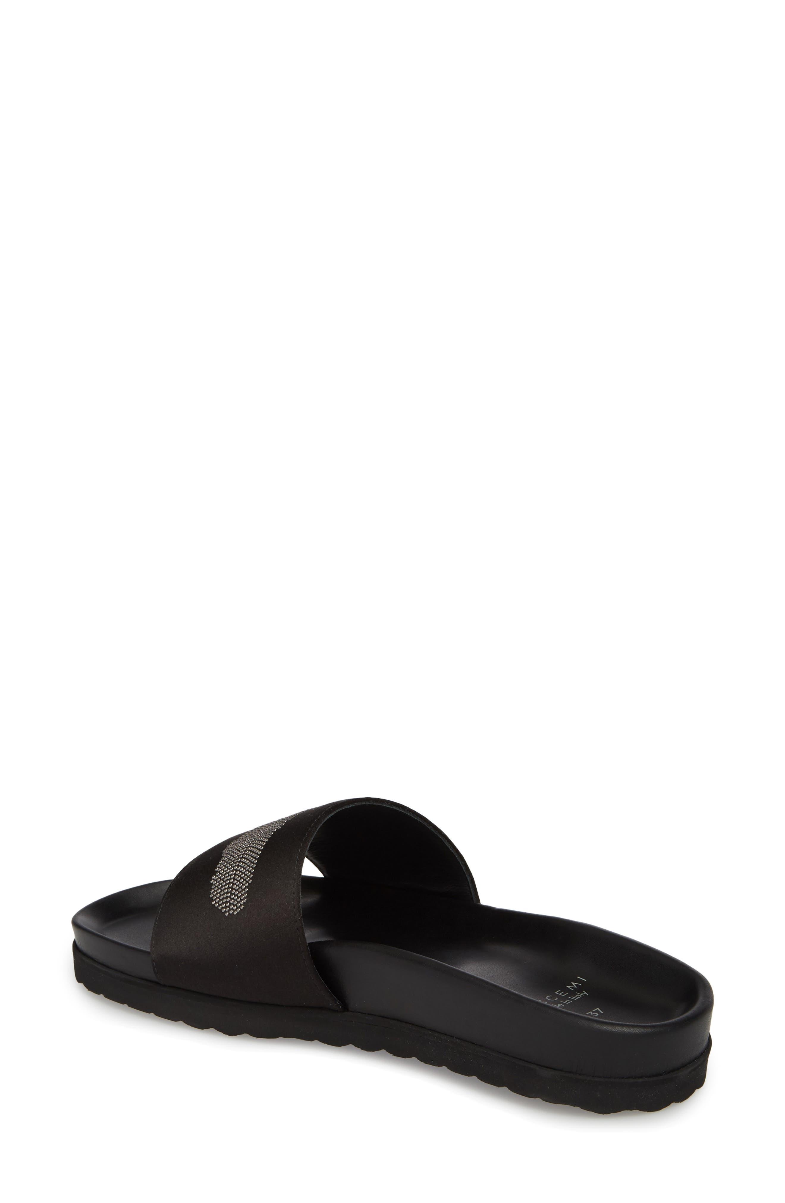 Satin Slide Sandal,                             Alternate thumbnail 2, color,                             BLACK