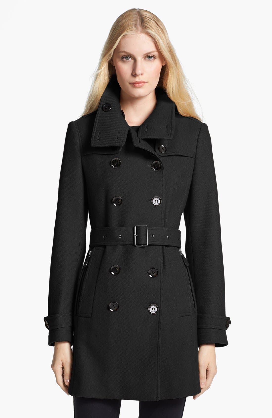BURBERRY BRIT,                             'Daylesmoore' Wool Blend Trench Coat,                             Main thumbnail 1, color,                             001