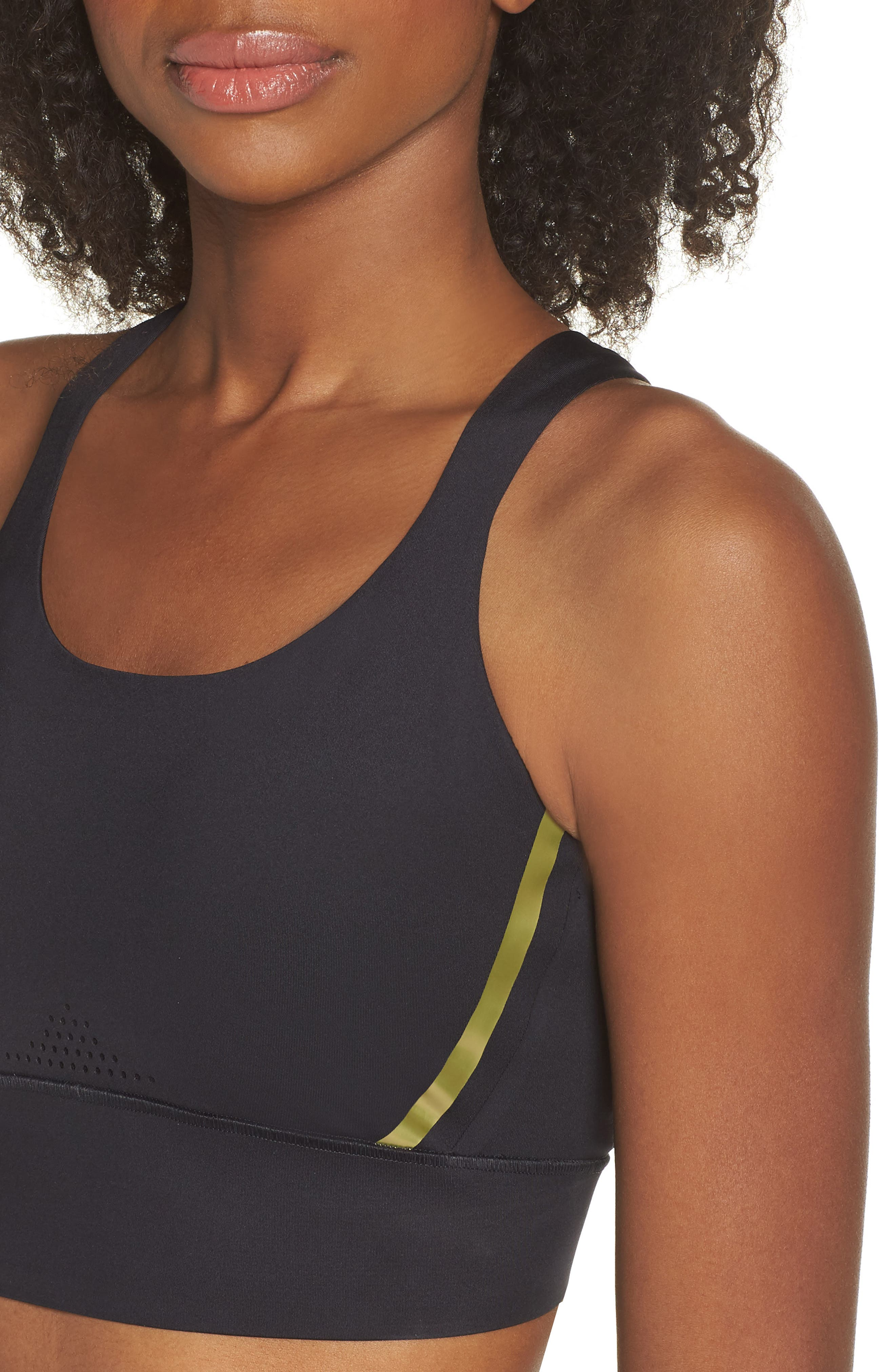 UNDER ARMOUR,                             Breathelux Perforated Sports Bra,                             Alternate thumbnail 5, color,                             001