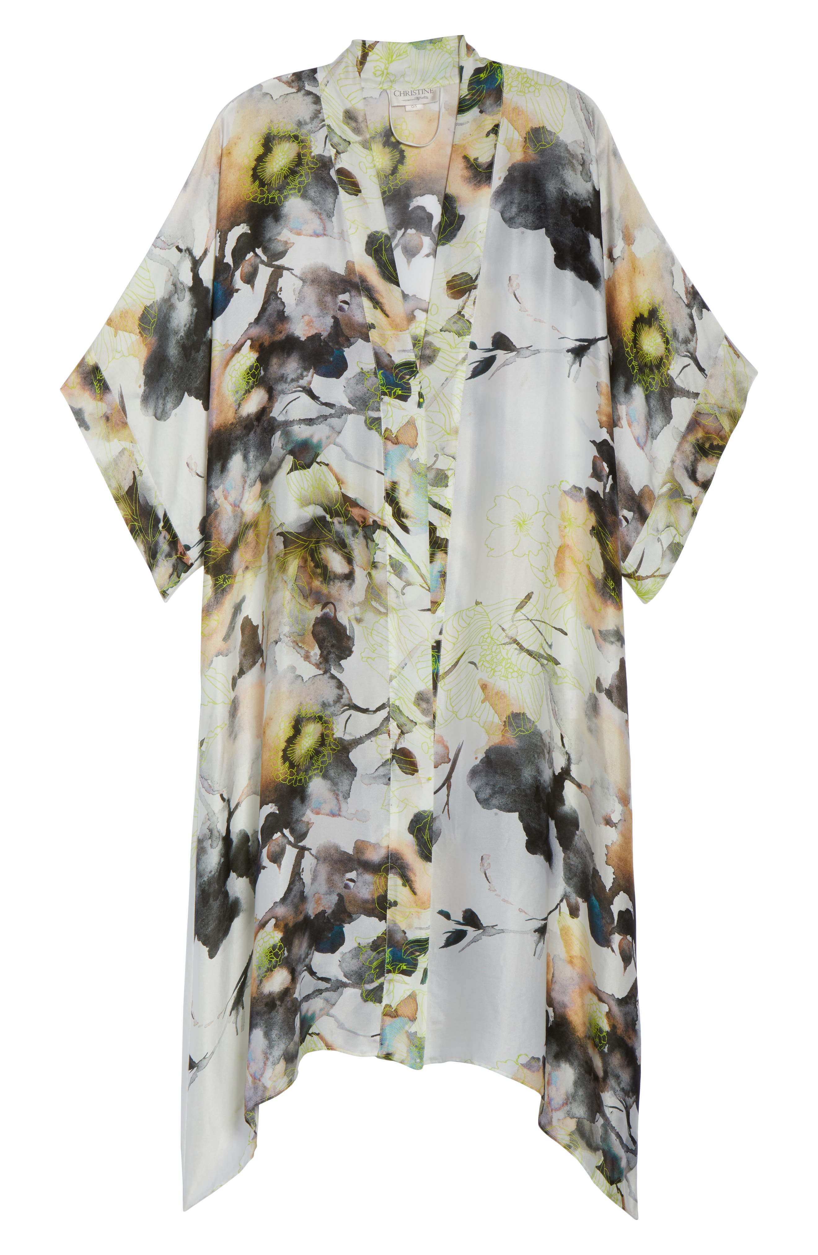 Floral Print Silk Robe,                             Alternate thumbnail 6, color,                             LIMELIGHT PRINT