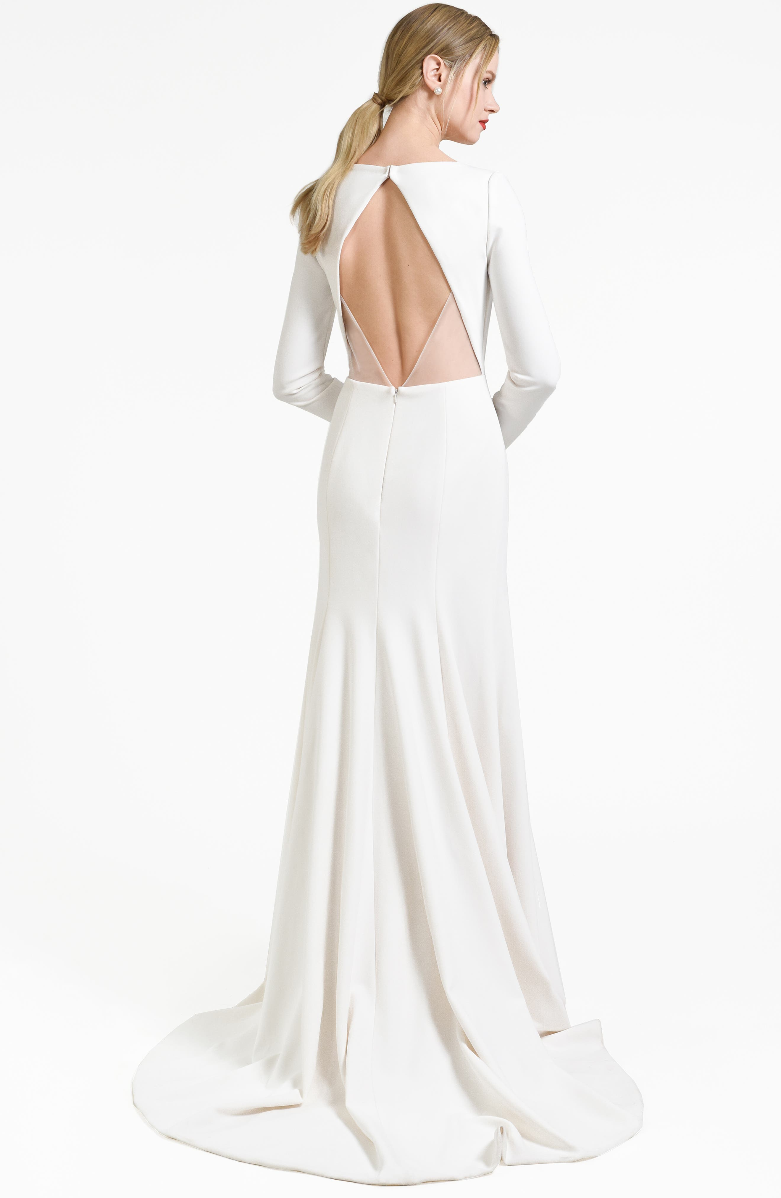 Blythe Plunging Crepe Gown,                             Alternate thumbnail 2, color,                             IVORY