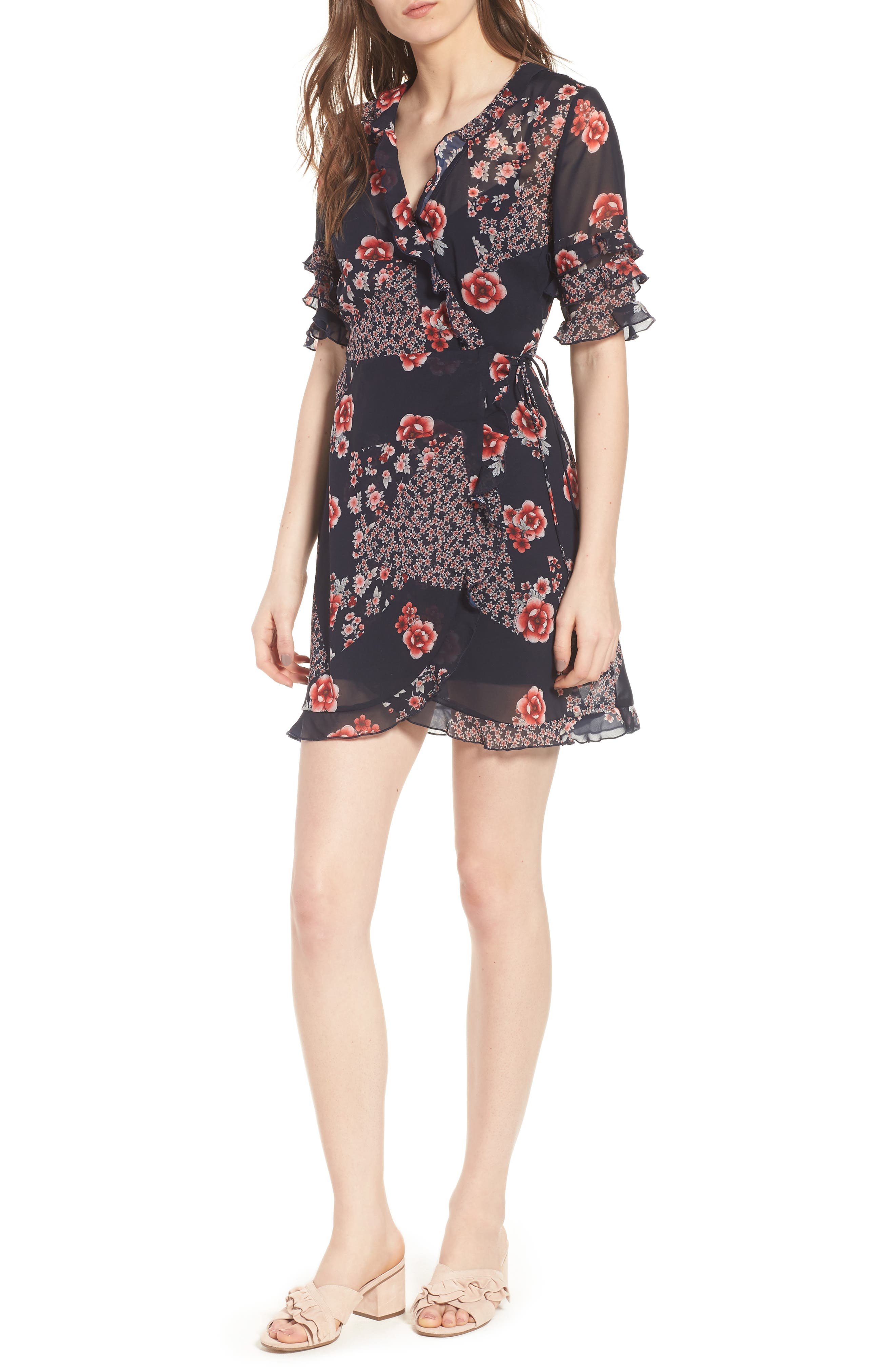 East Floral Wrap Dress,                         Main,                         color, 421