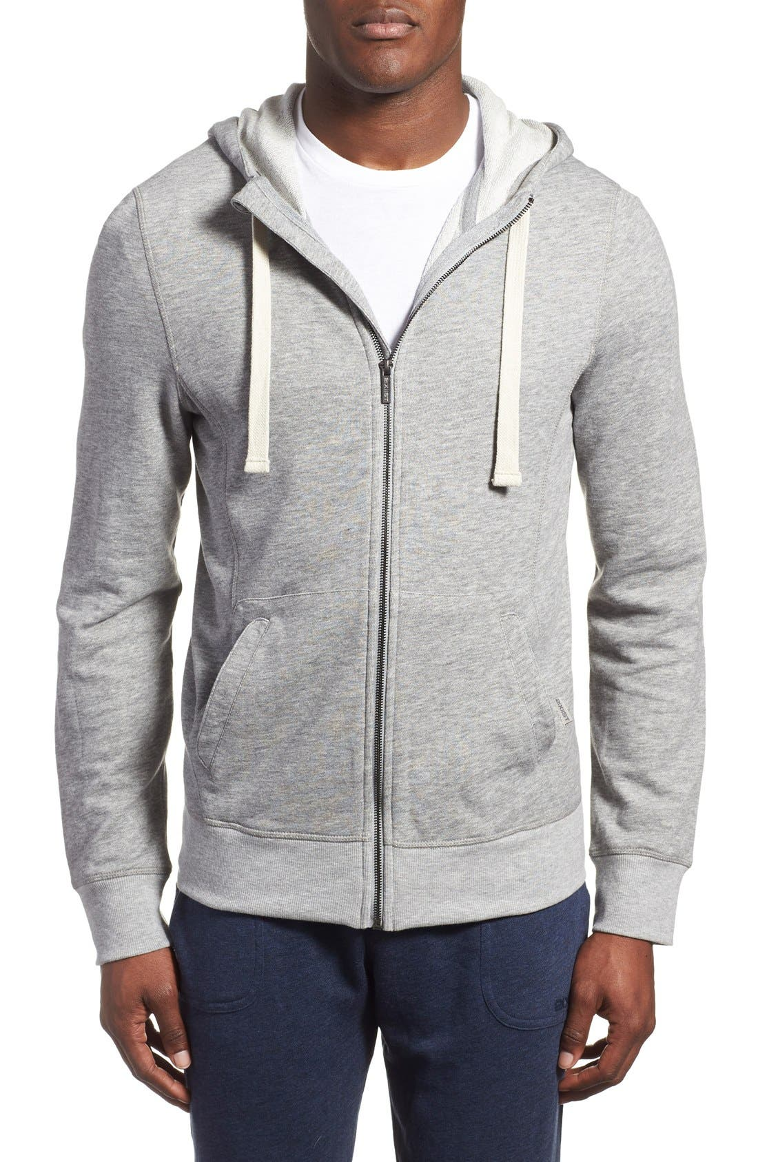 'Terry' Cotton Blend Zip Hoodie,                             Main thumbnail 1, color,                             LIGHT GREY HEATHER