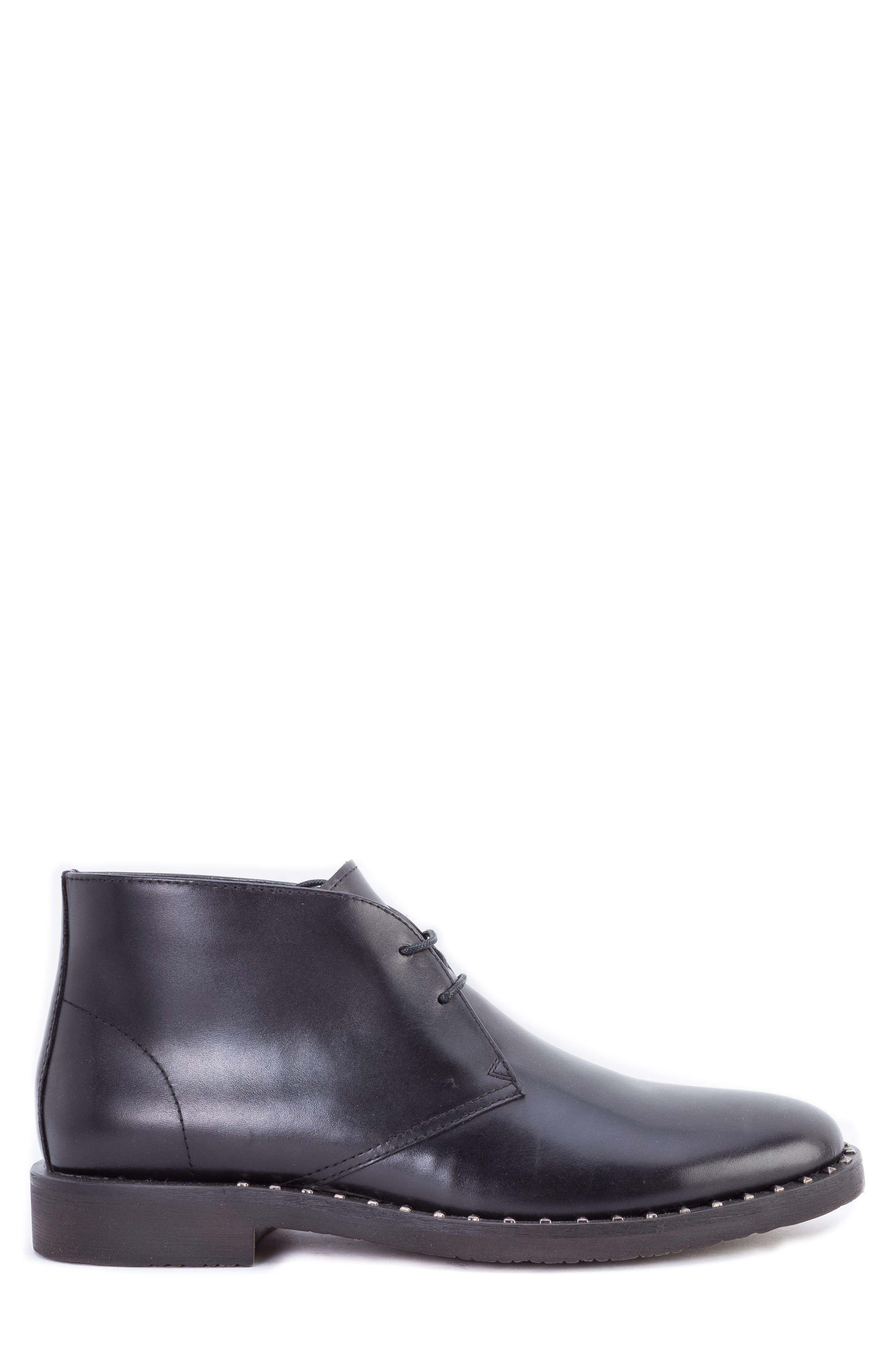 Norrie Studded Chukka Boot,                             Alternate thumbnail 3, color,                             BLACK LEATHER