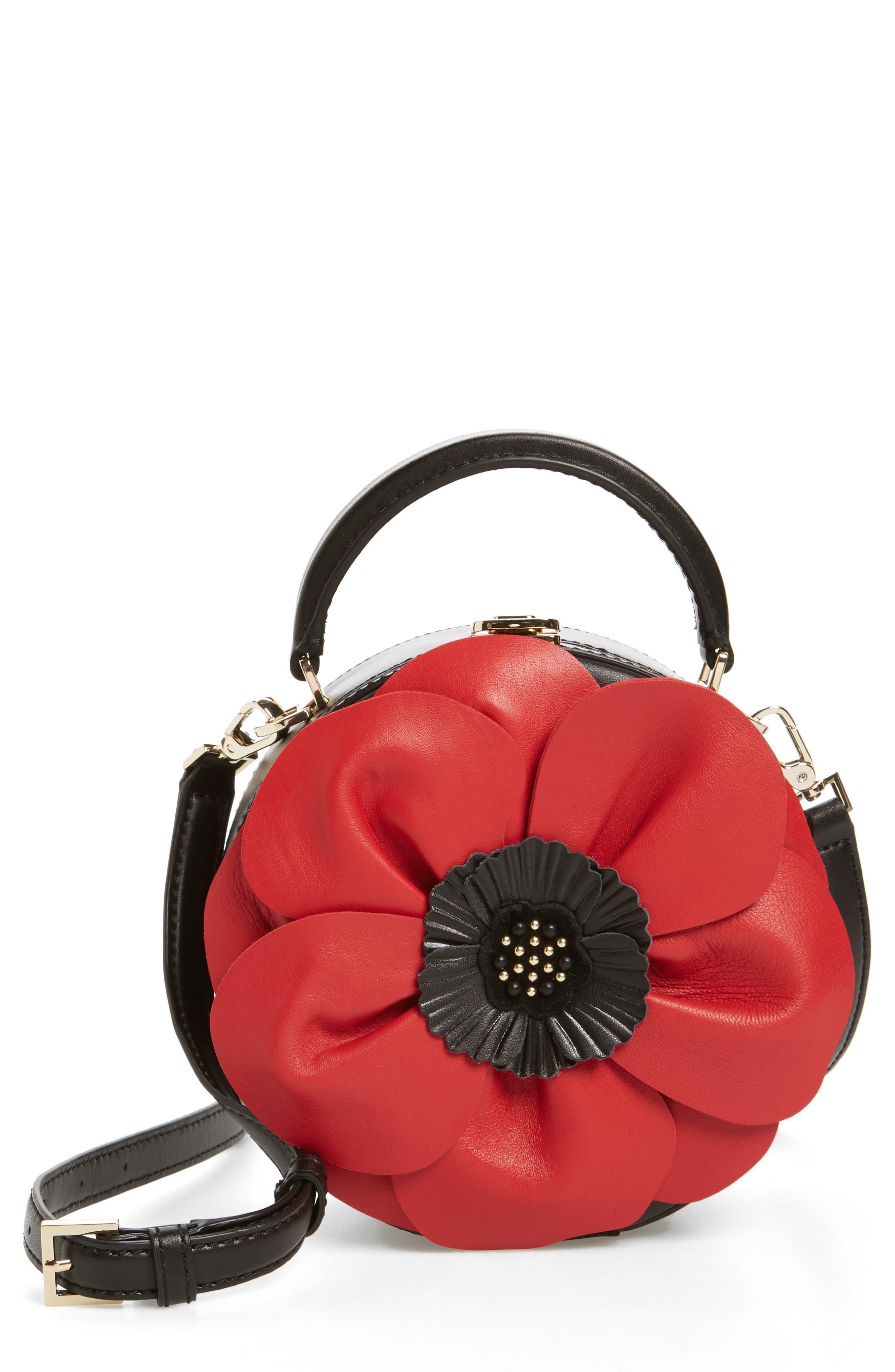 ooh la la poppy leather crossbody bag,                             Main thumbnail 1, color,